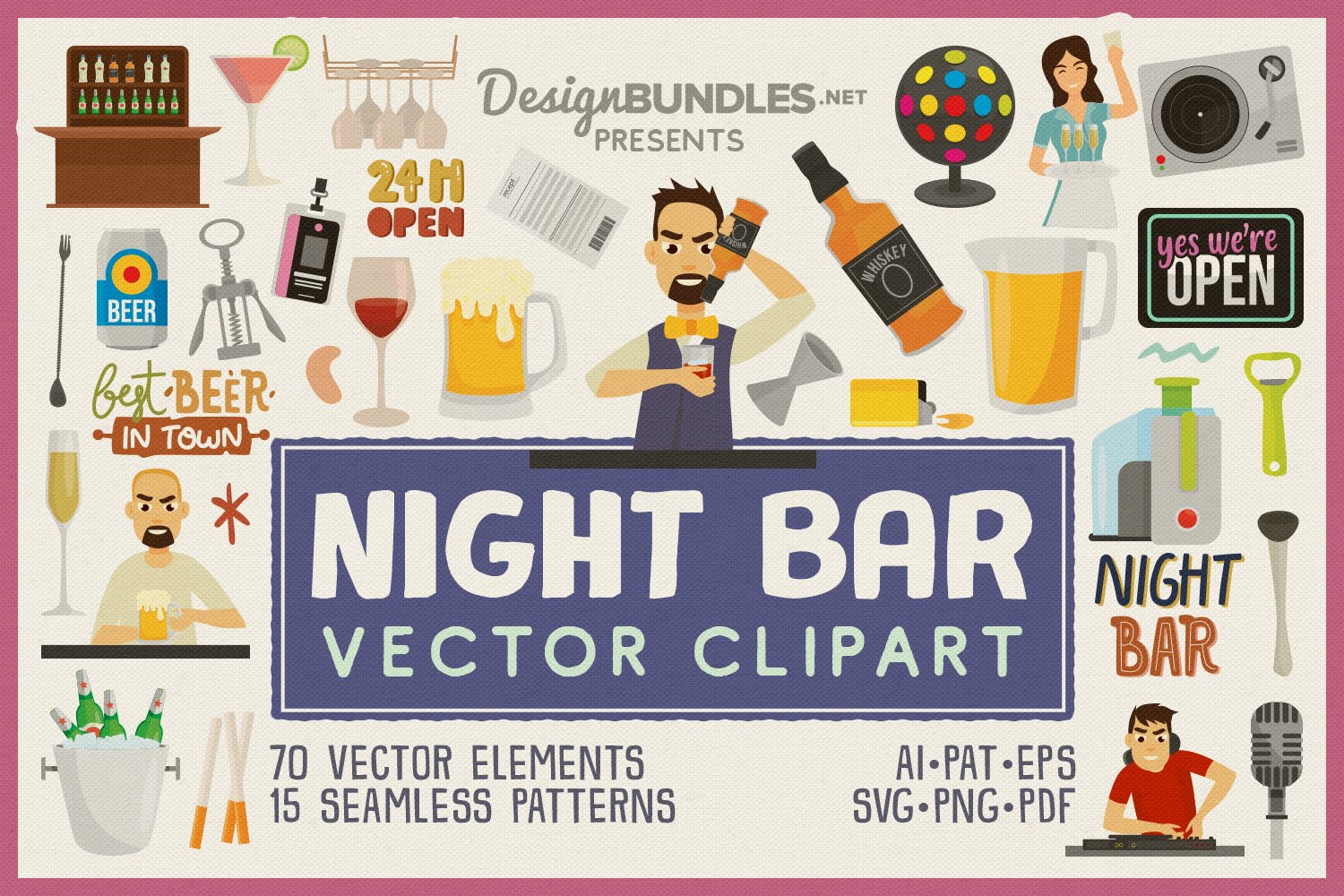 Night Bar Vector Clipart and Seamless Pattern example image 1