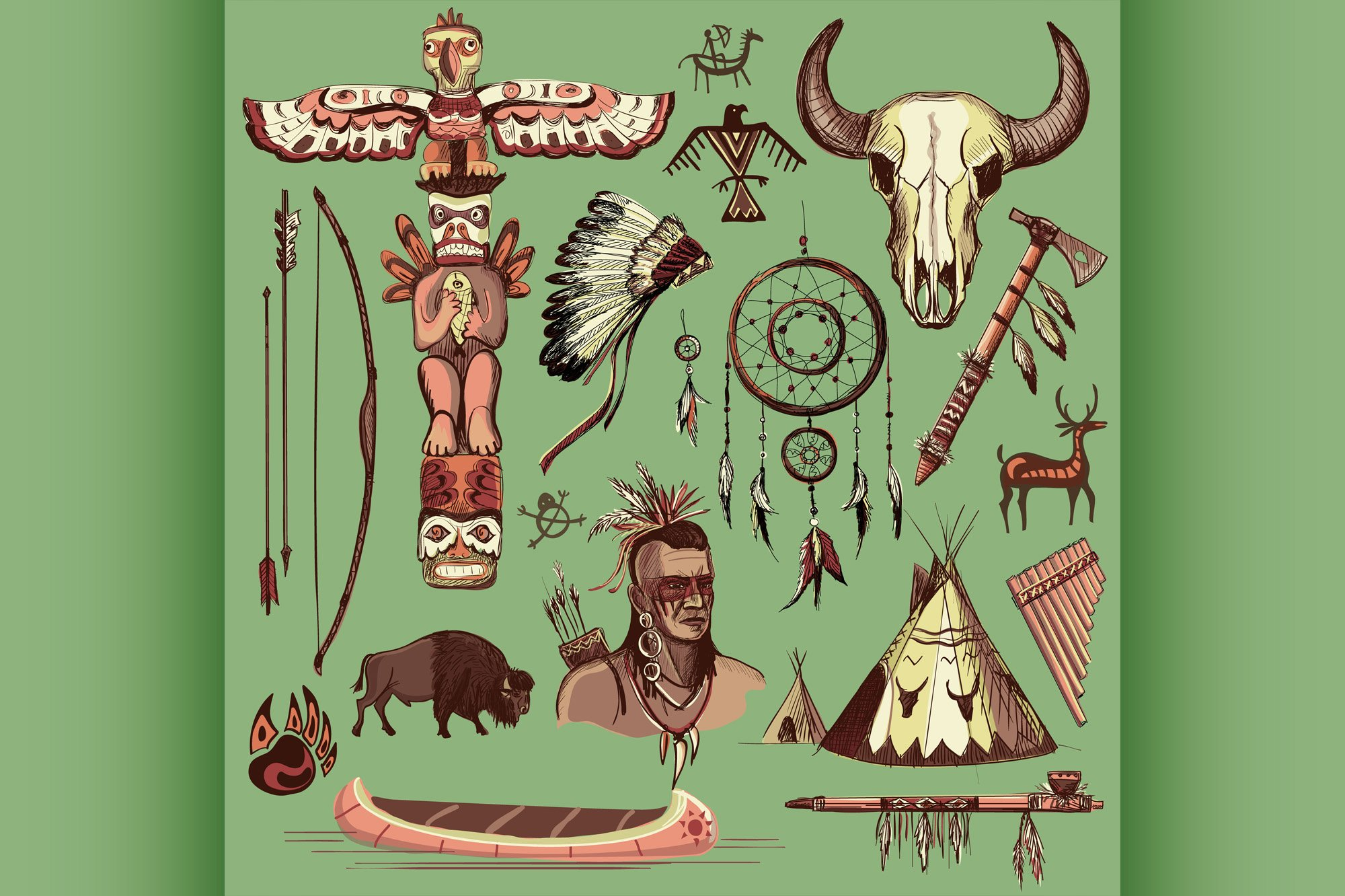 Collection of hand drawn wild west american indian icons example image 1