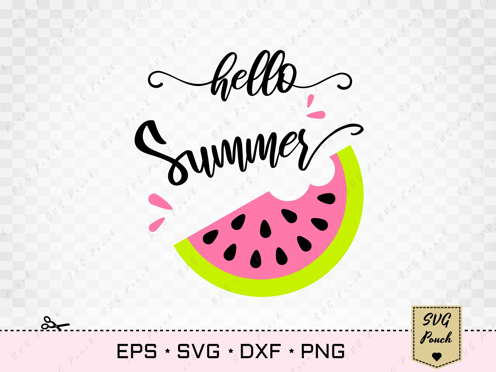 Download Hello Summer Svg Cut File Ò Watermelon Ò Silhouette Ò Cricut Crafter Files