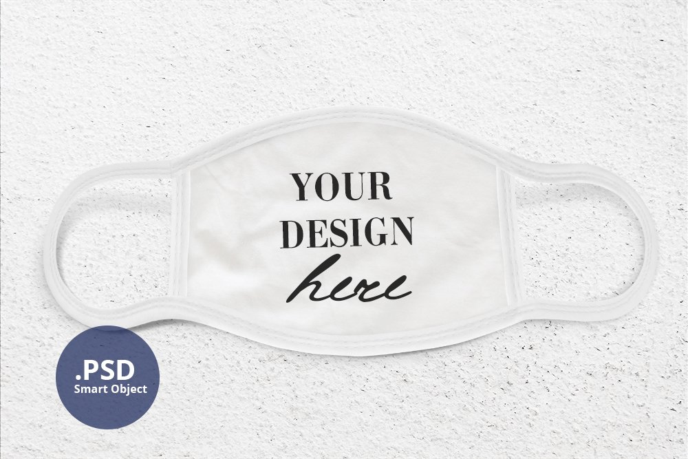 Face Mask Mockup PSD, Face cover mock up PSD & Smart Object example image 1