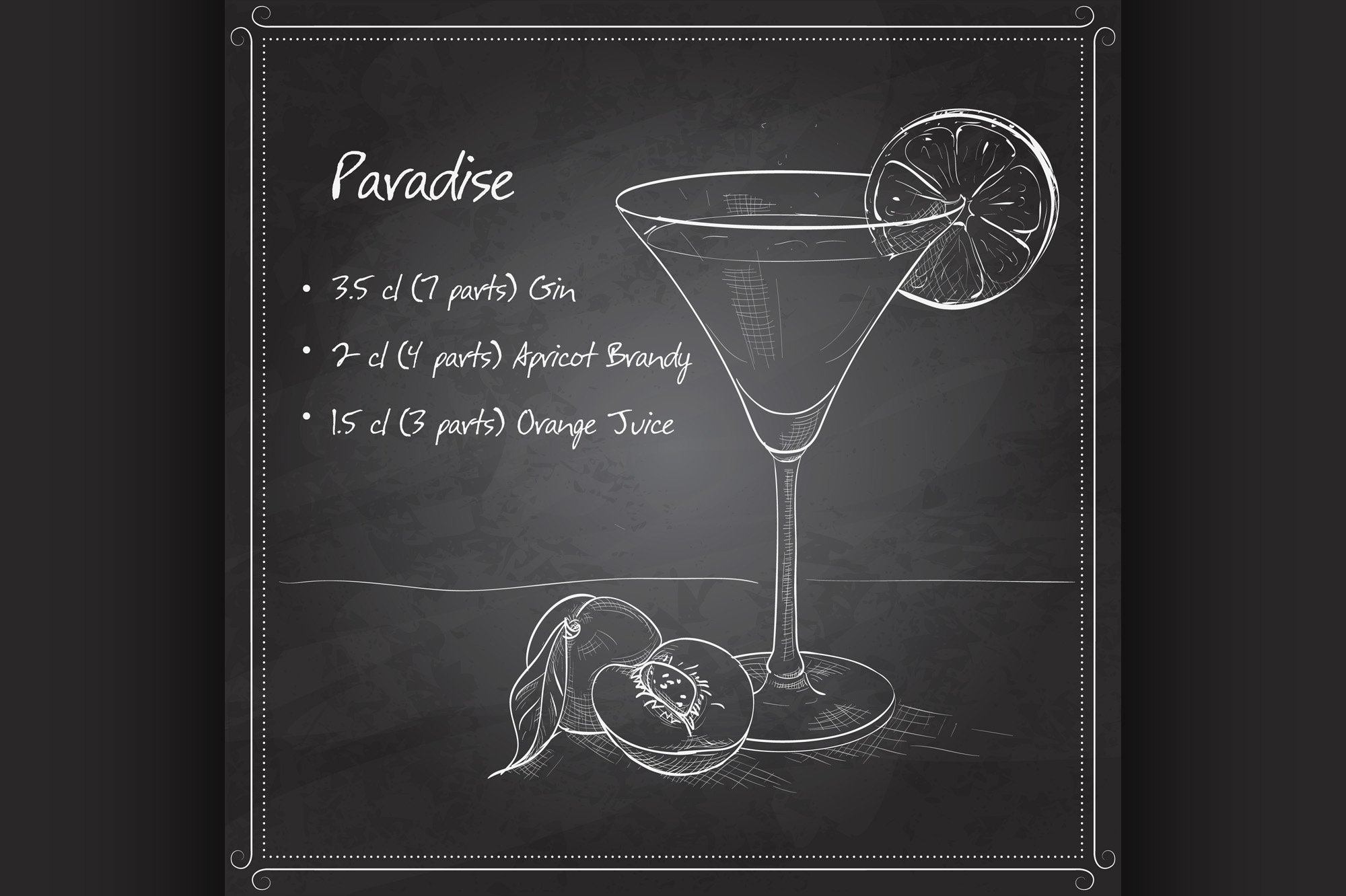 Paradise alcoholic cocktail on black board example image 1
