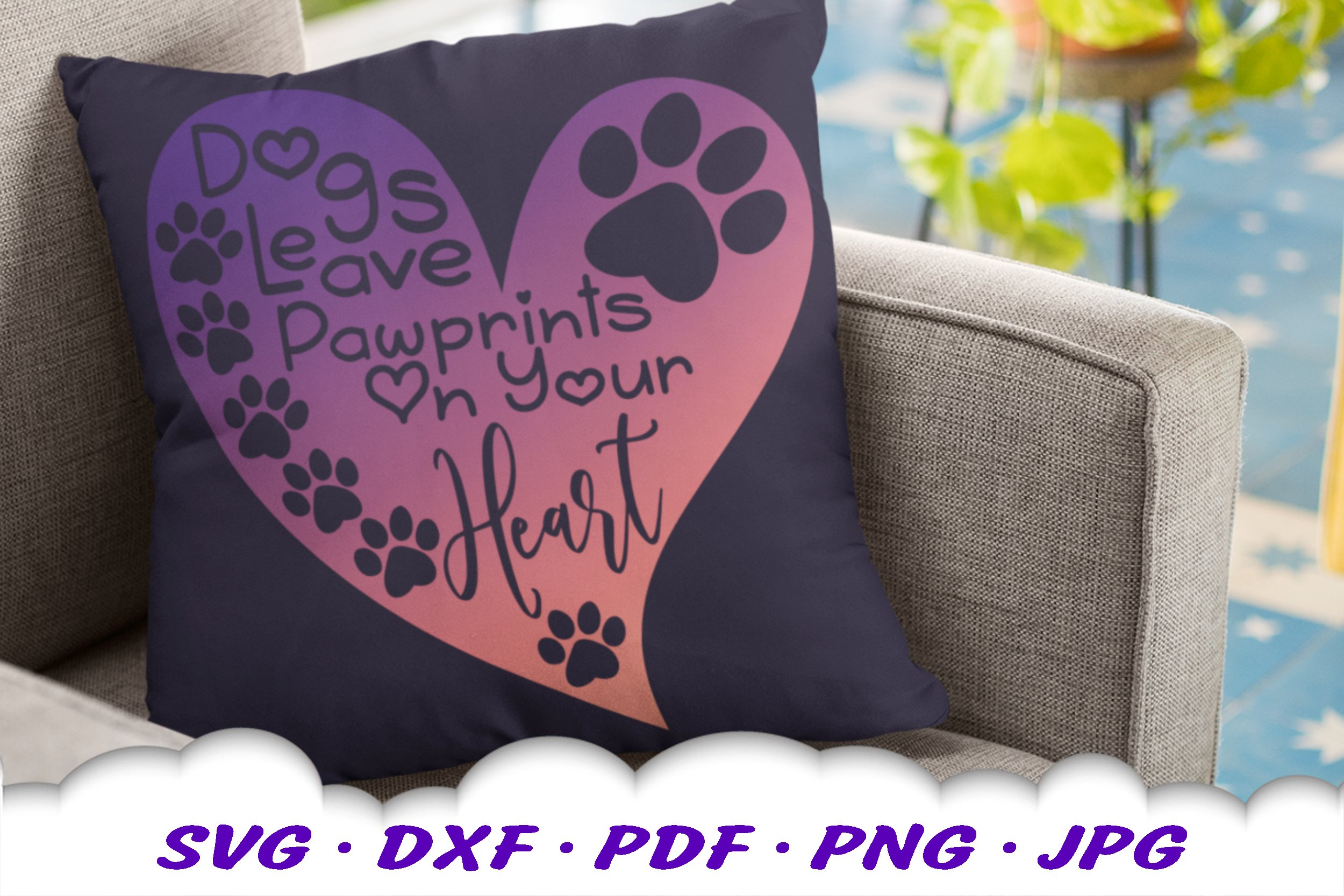 Dog Mom Paw Print Quote Heart SVG DXF Cut Files example image 6