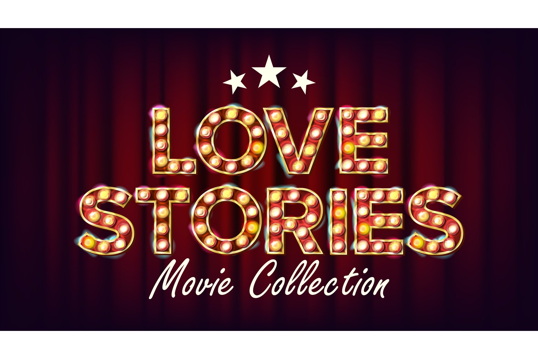 Love Stories Movie Collection Poster Vector. Retro Cinema example image 1