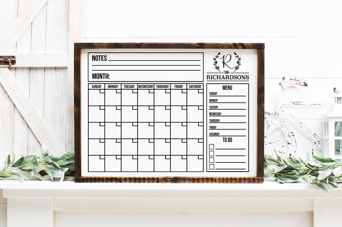 Customizable Family Calendar SVG example image 1