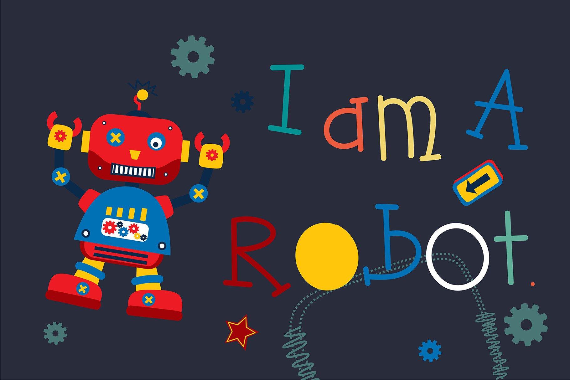 Hello Robot Handwritten- cute kid font Kawaii style! example image 2