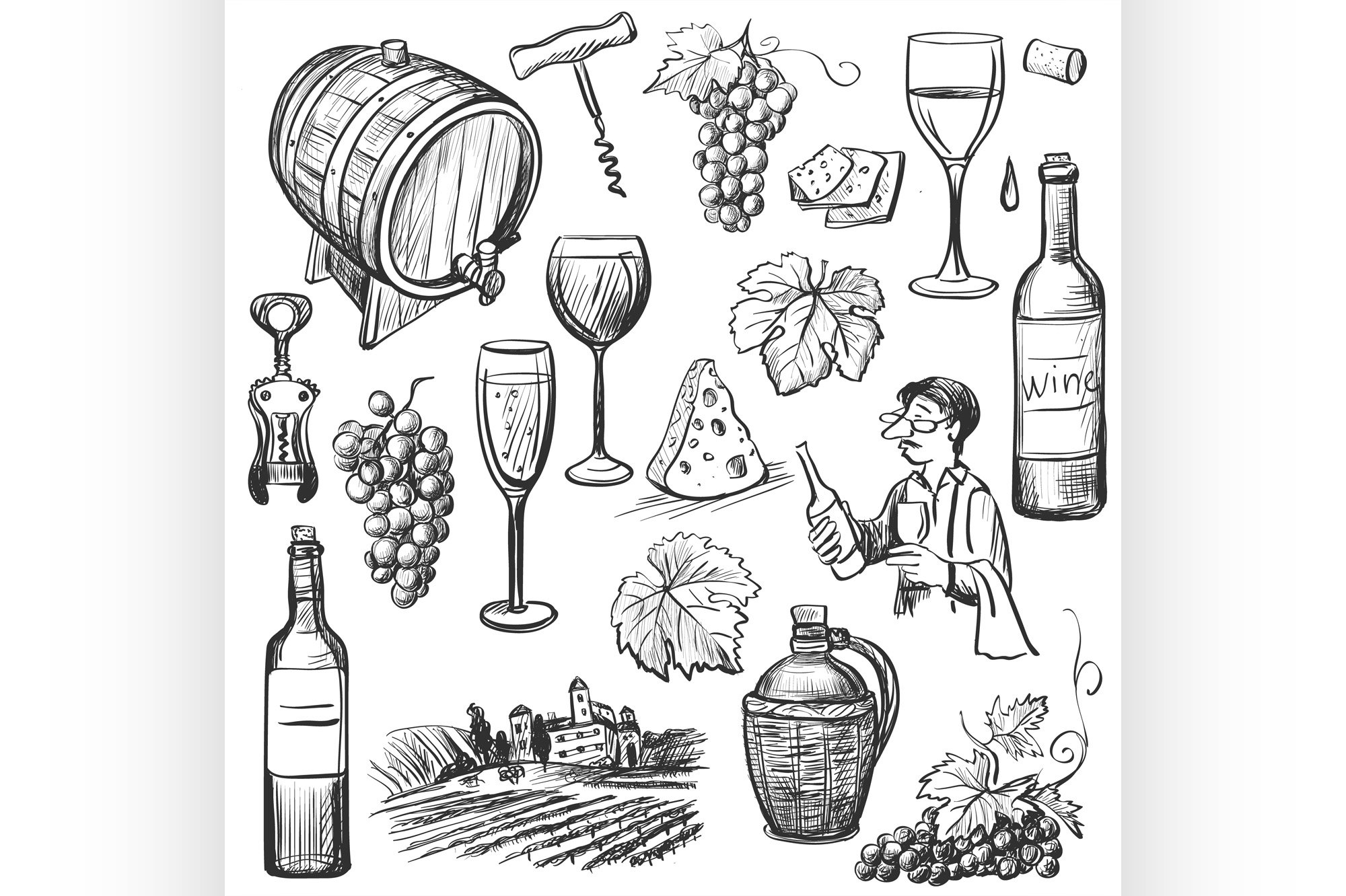 Hand drawn sketch vector wine set example image 1