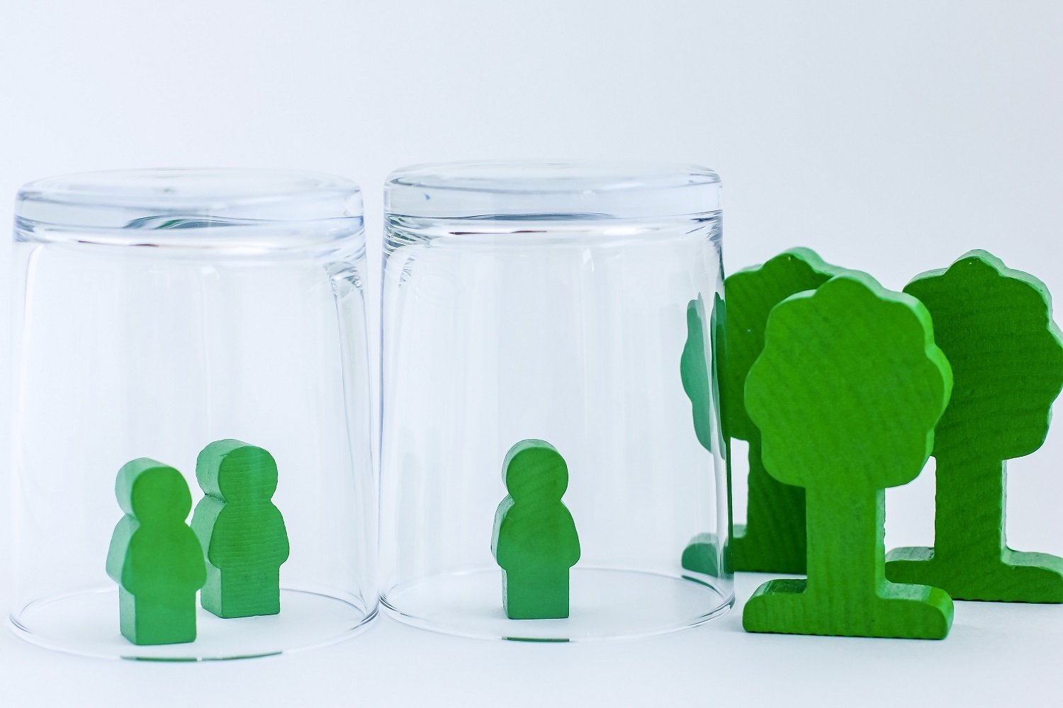 Toy wooden people under a glass. example image 1