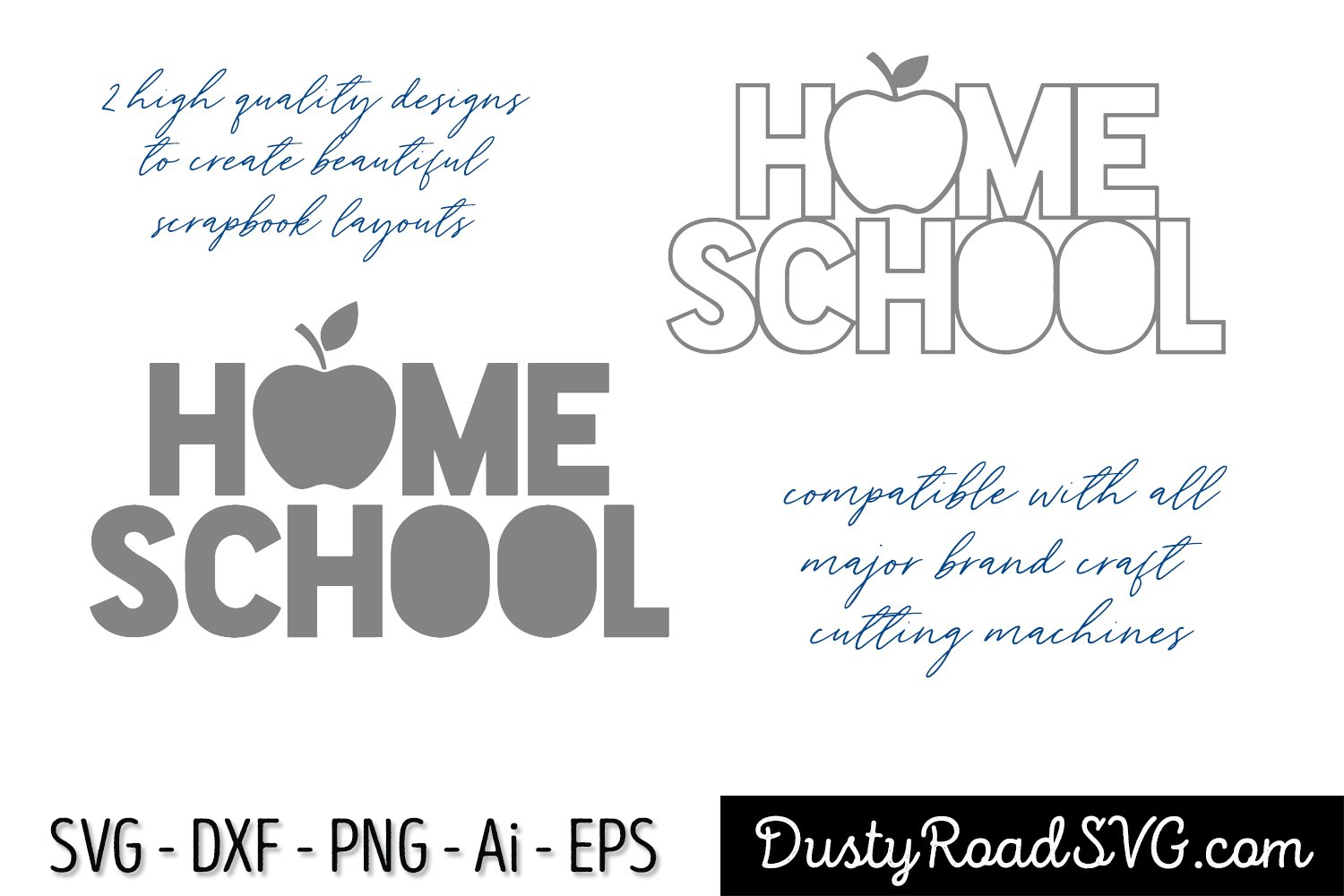 HOME SCHOOL - Scrapbook - cut file - svg png eps dxf example image 2