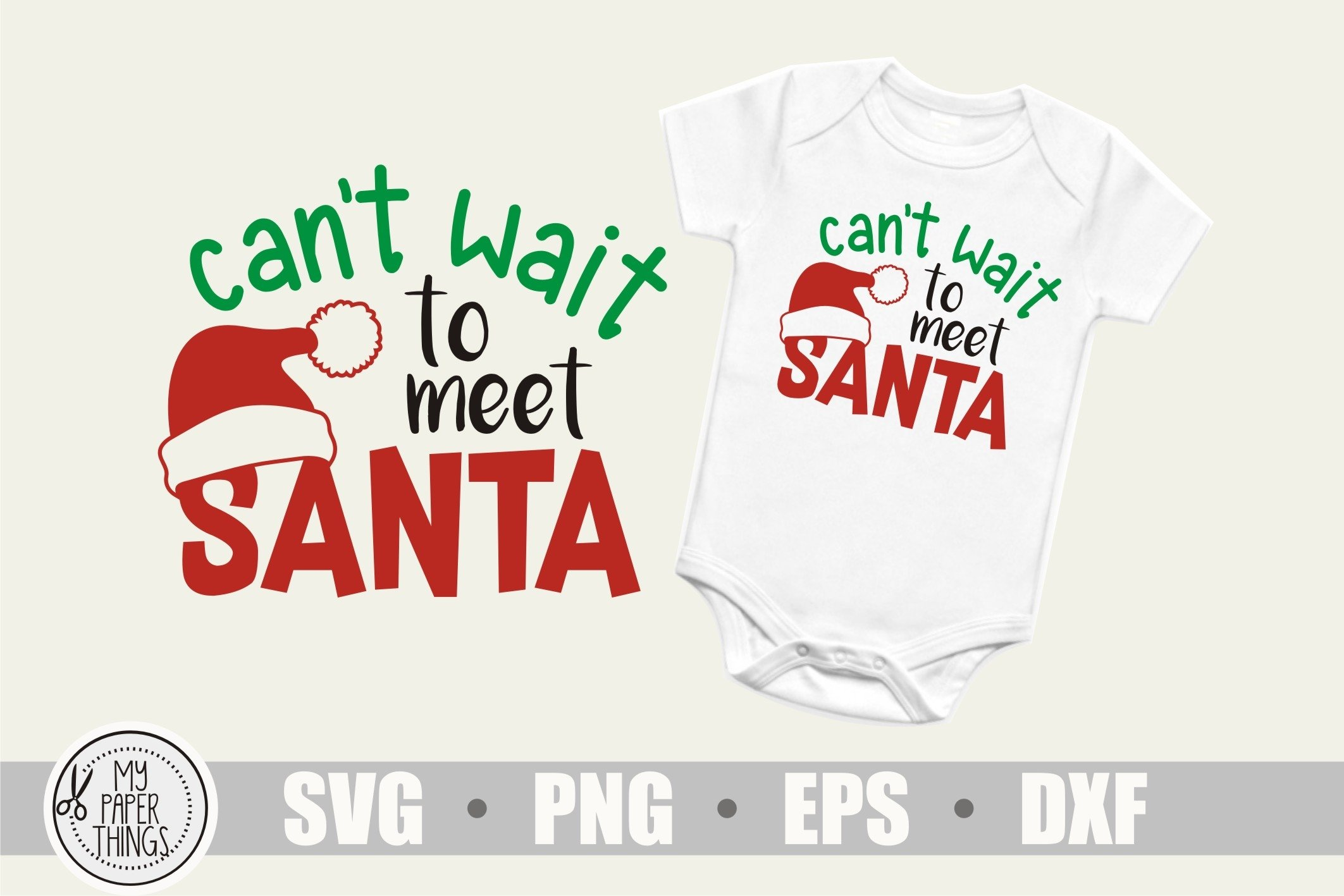 Baby Christmas svg, Can't wait to meet Santa svg example image 1