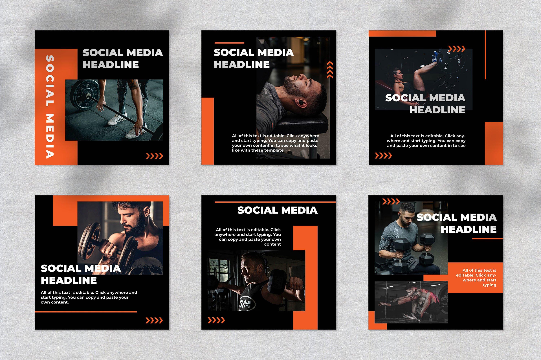 Fitness Instagram Social Media Template example image 3