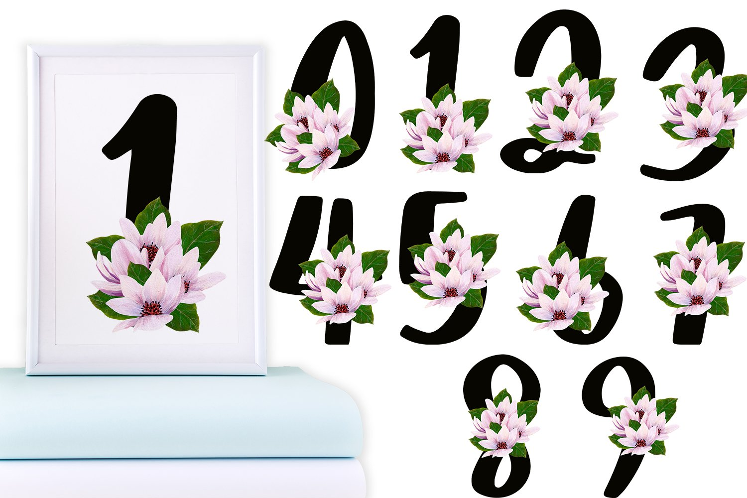Black Magnolia Alphabet and Number example image 5