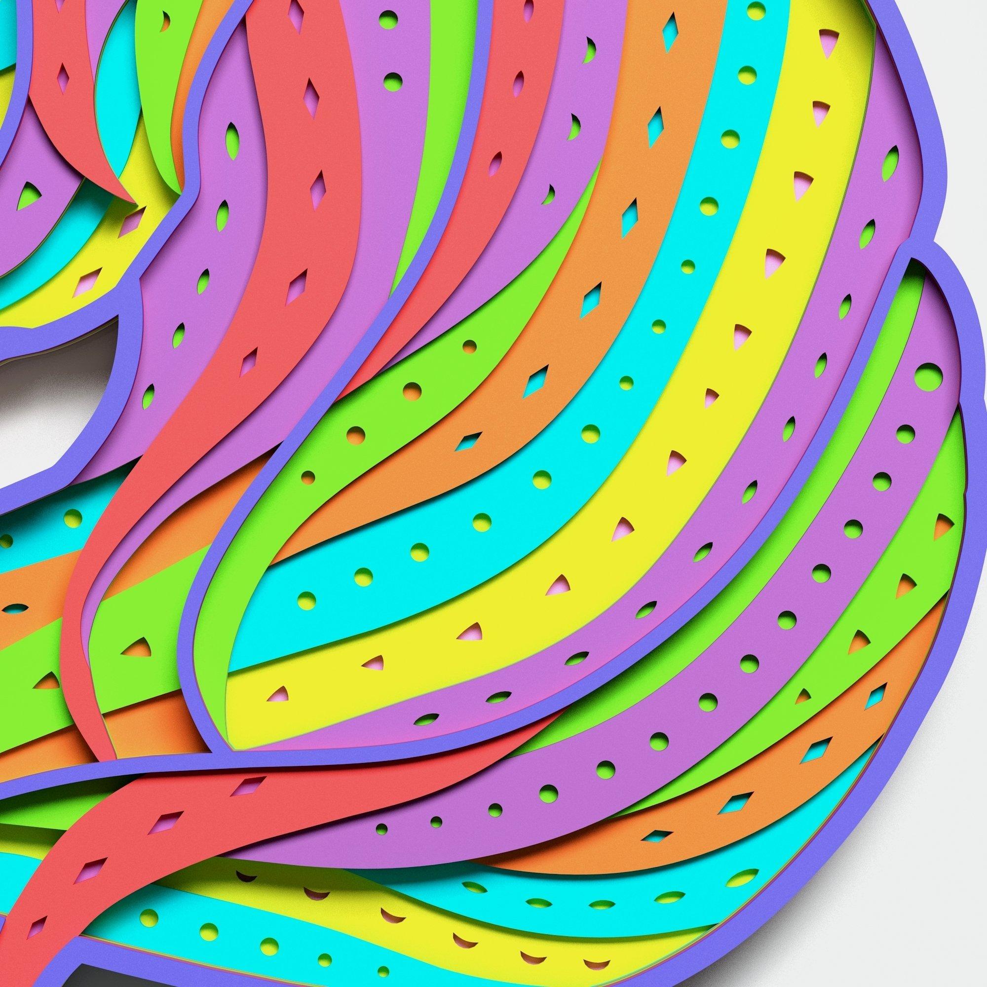 Multilayer Unicorn Mandala, Vector file for cutting example image 6