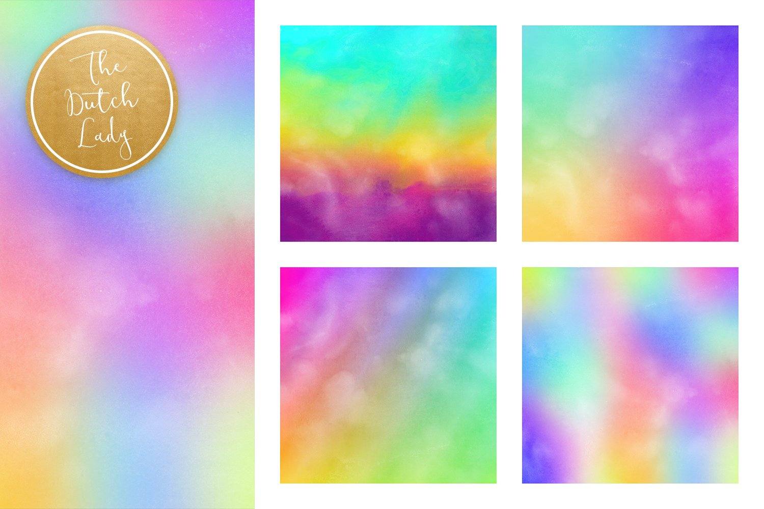Digital Backgrounds & Papers - Distressed Rainbow Gradients example image 2