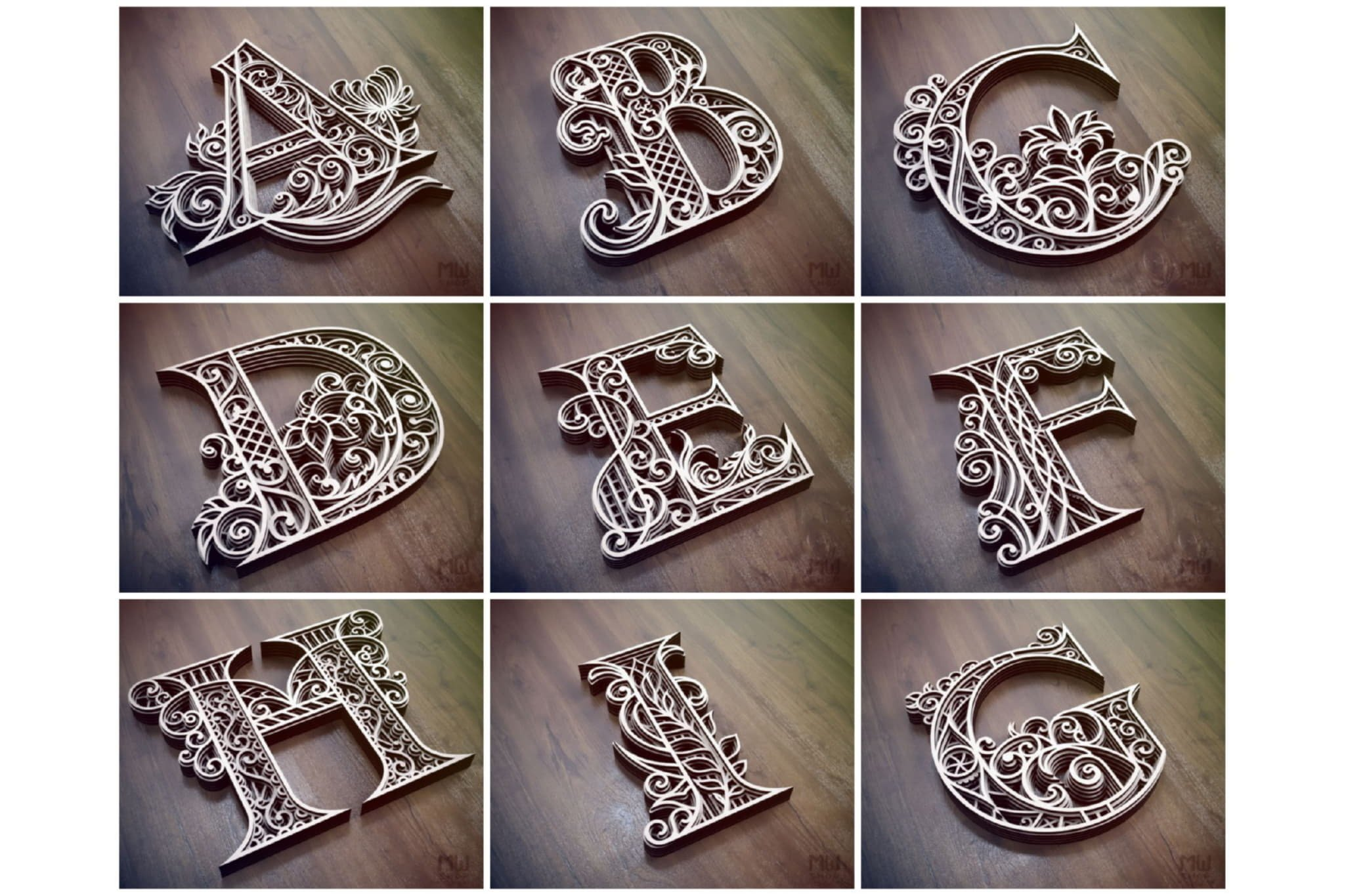A-Z Layered Letters Bundle, Alphabet letters Bundle example image 3