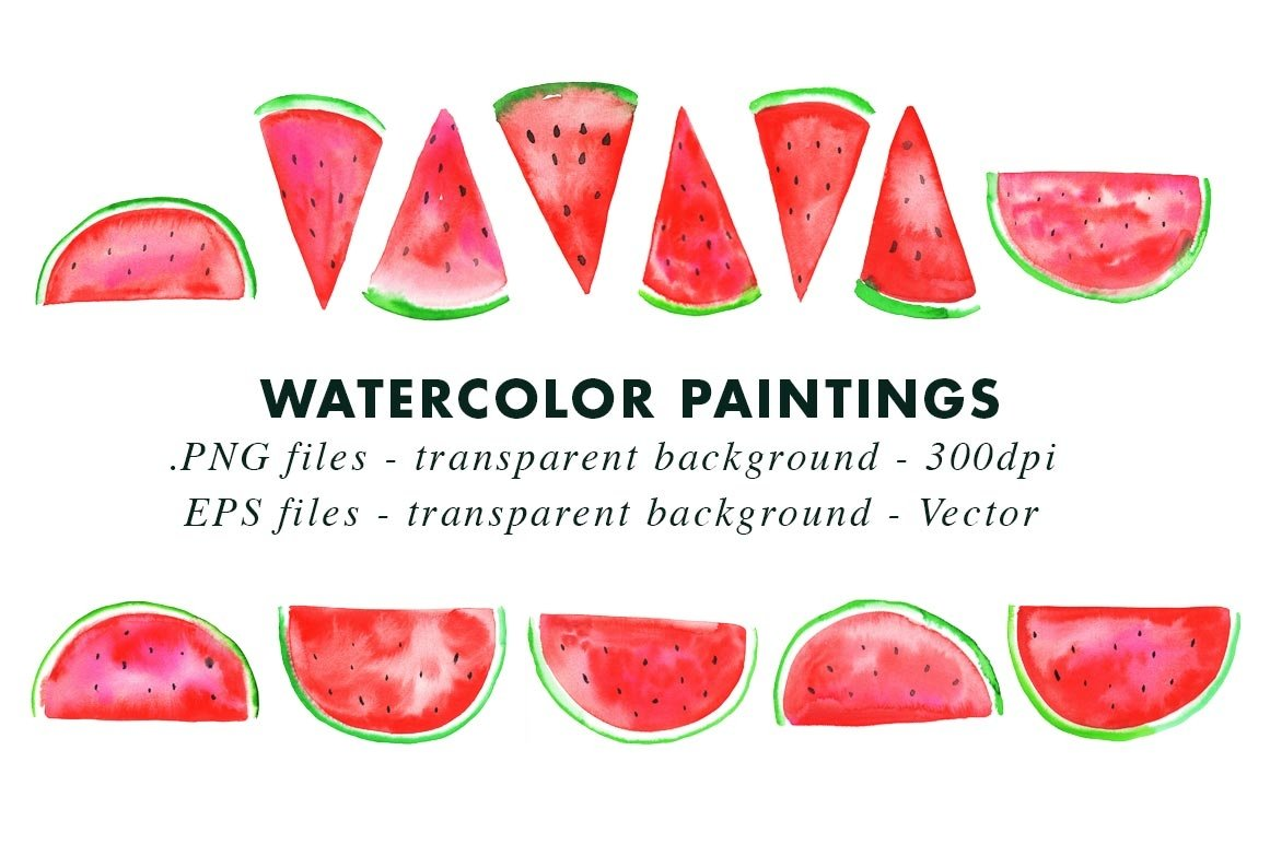 Watercolor Watermelon Illustrations Clip Art in PNG & Vector example image 2