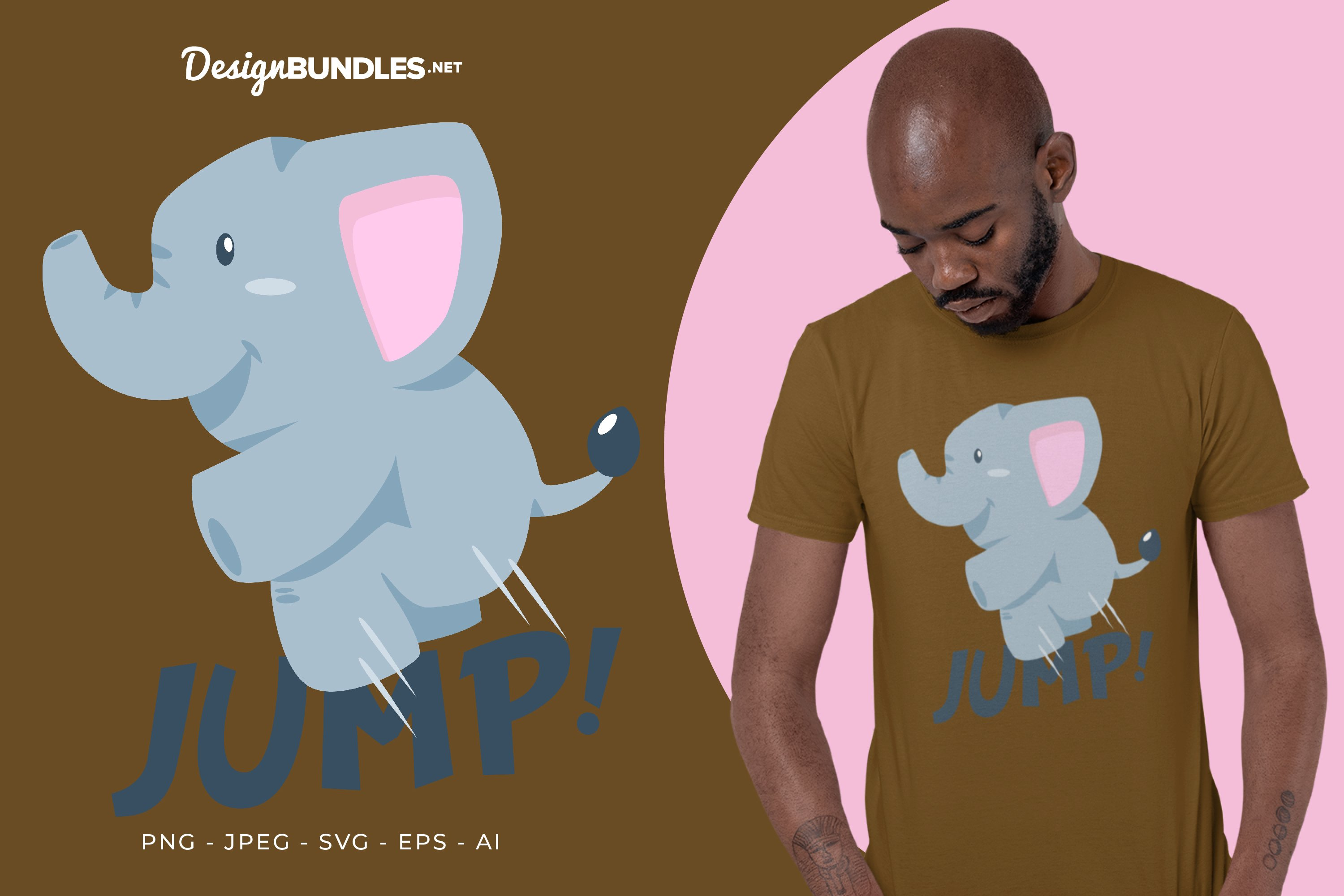 Jumping Elephant Vector Illustration For T-Shirt Design example image 1