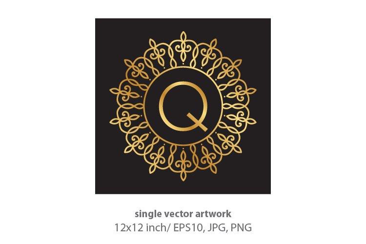 Letter q, inside luxury frame example image 1