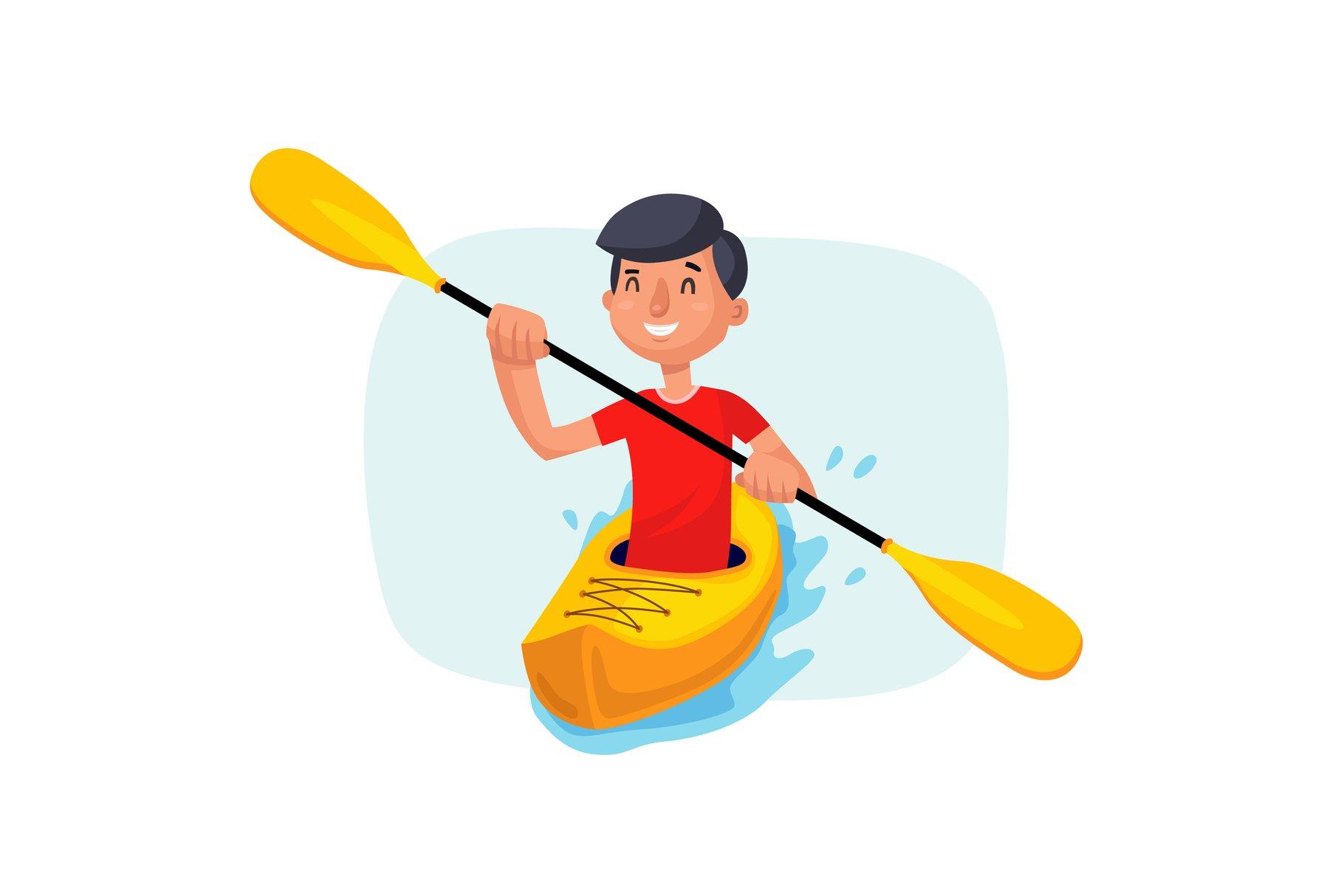 Kayaking Paddling on Boats Vector. Having Fun. Paddle Oar. example image 1