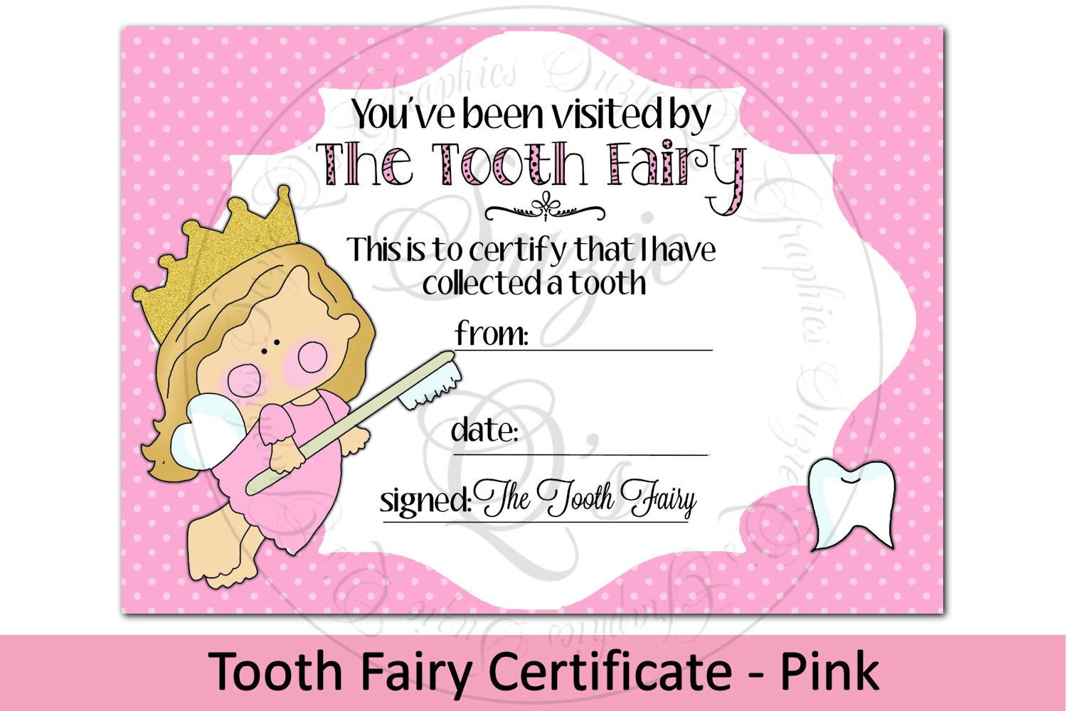 Tooth Fairy Certificate - Pink, 21 x 21 inches (321212168)  Other  Design Throughout Free Tooth Fairy Certificate Template