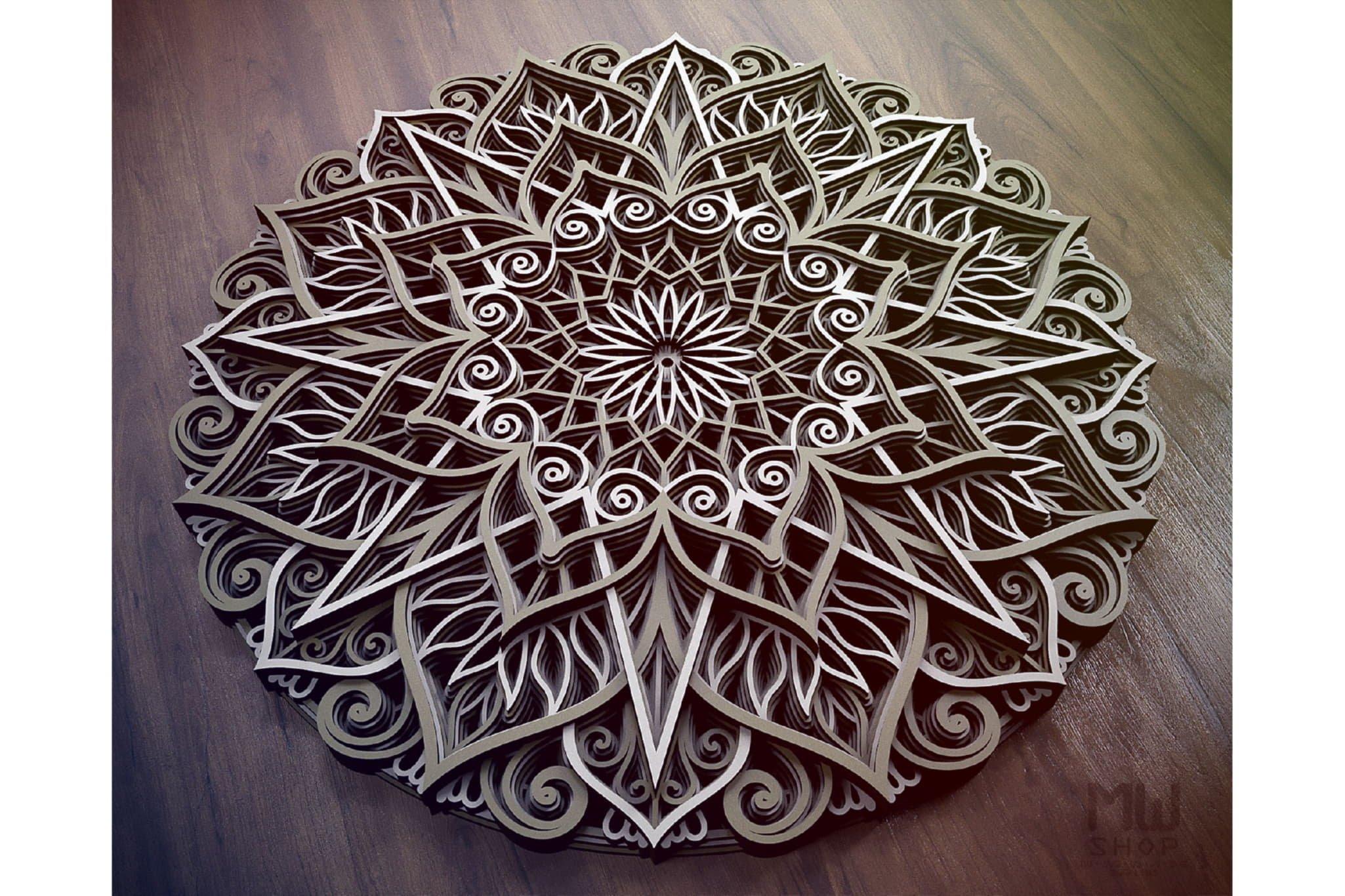 M89 - Mandala DXF Laser Cut Pattern, Flower mandala pattern example image 4