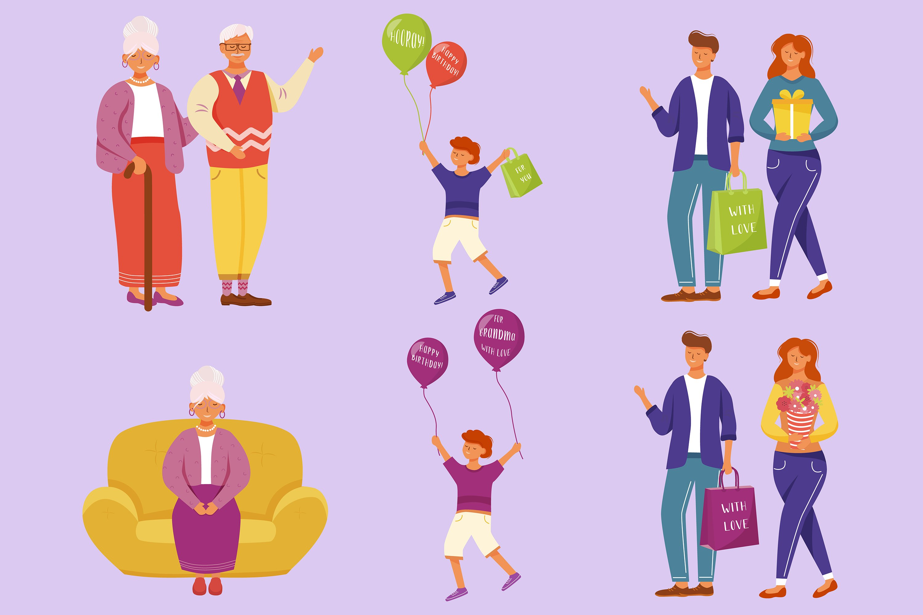 Family birthday party flat vector illustrations set example image 1