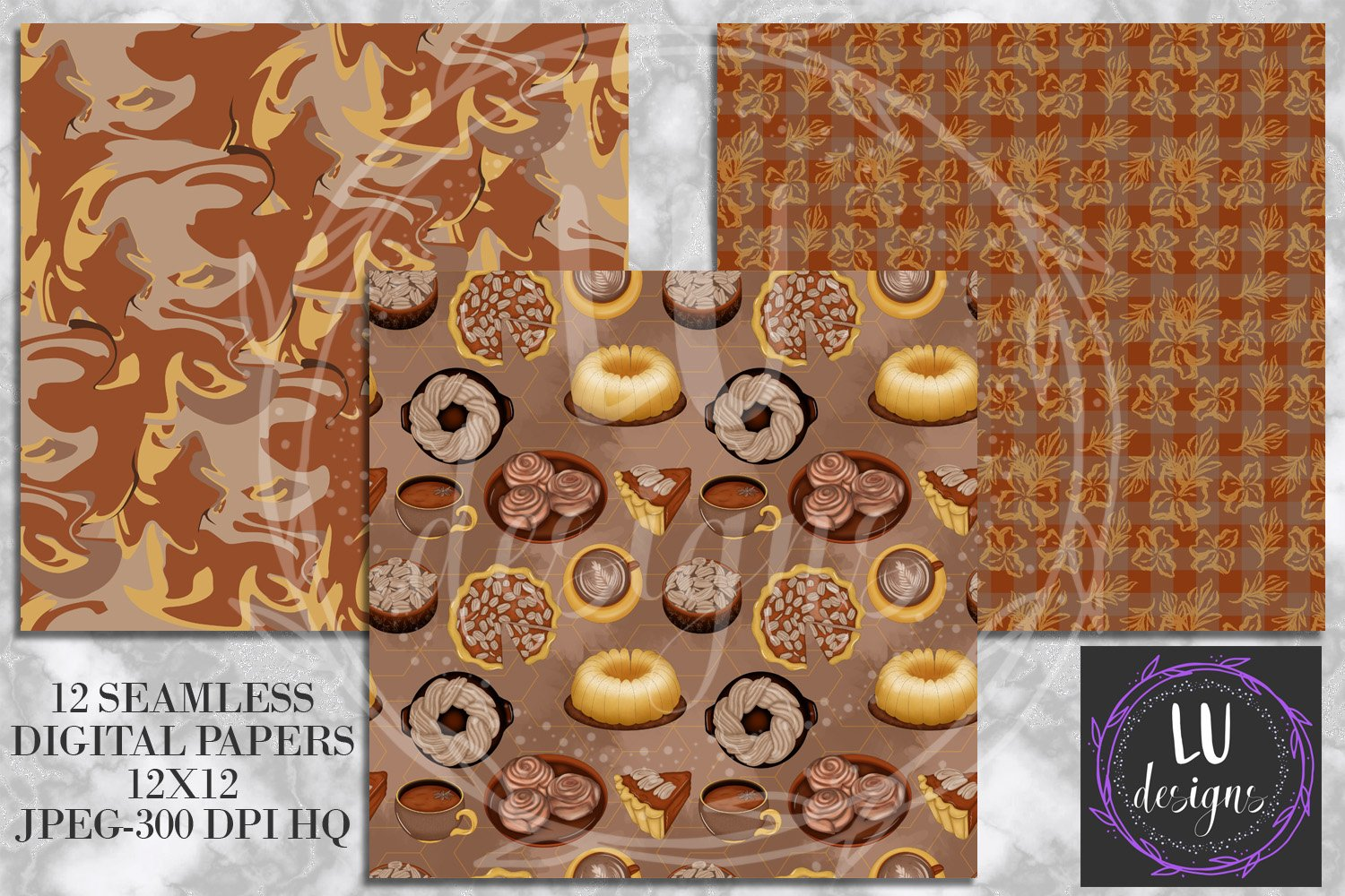 Cinnamon Spice Autumn Digital Paper, Fall Coffee Backgrounds example image 3