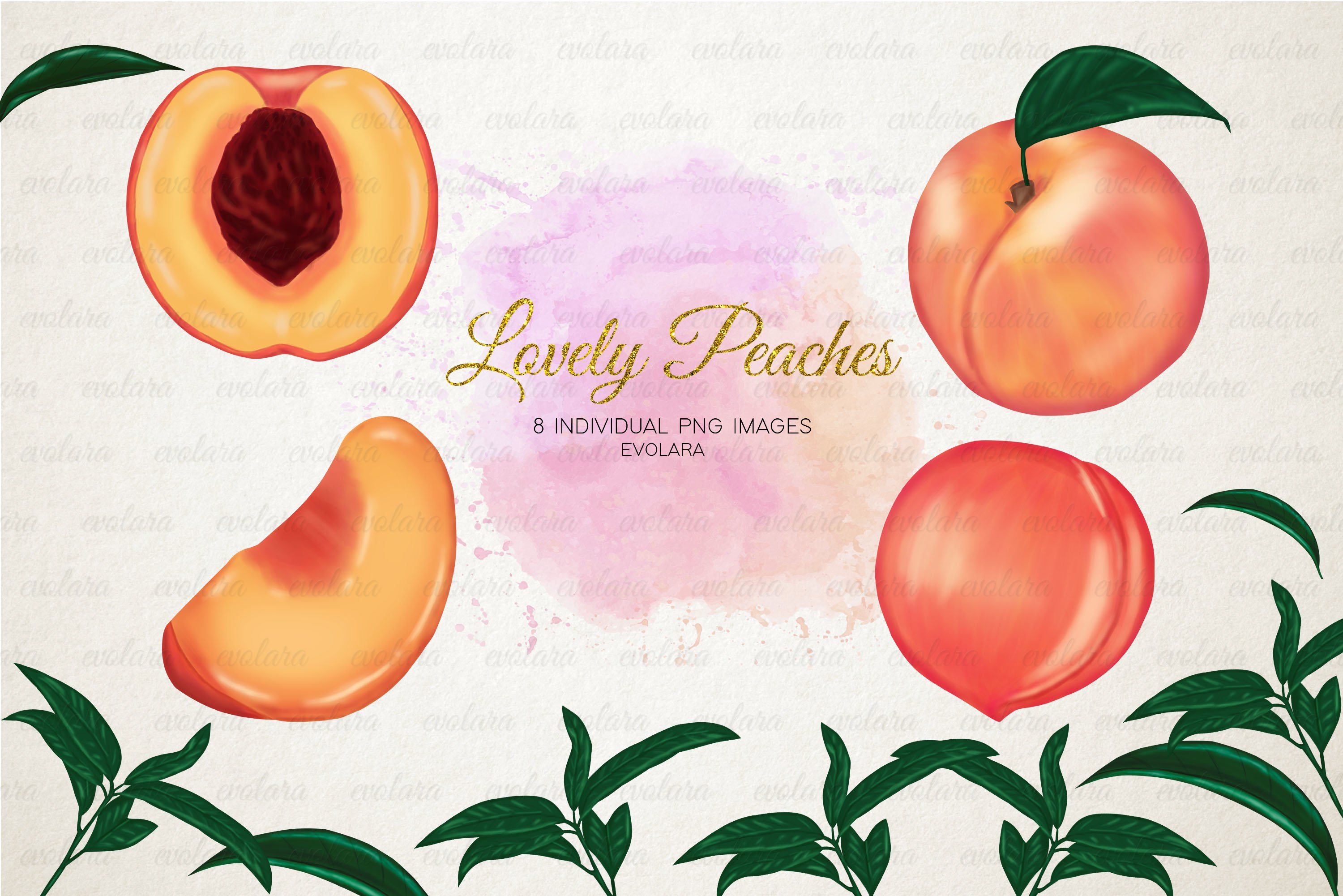 Peach Clipart Peaches Clipart Fruits Clipart Greenery 322078 Illustrations Design Bundles