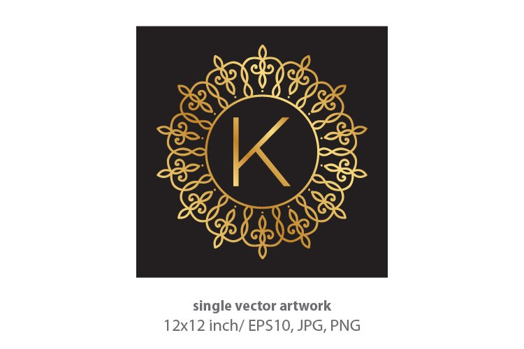 Letter k, inside luxury frame example image 1