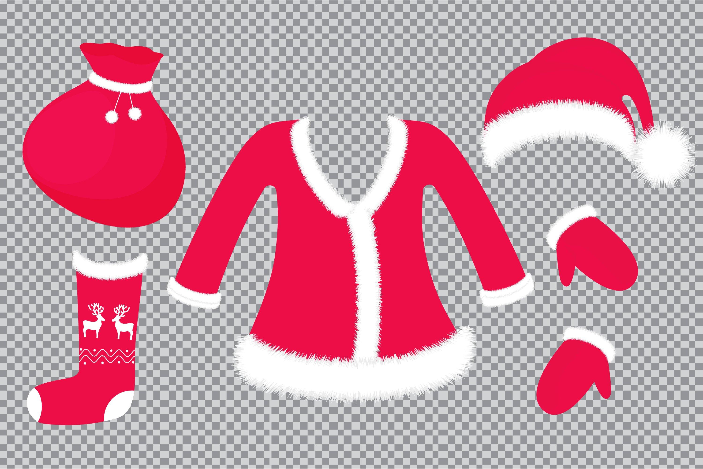 Download Santa Outfit And Accessories Hat Suit Mittens Sock Bag 381146 Illustrations Design Bundles