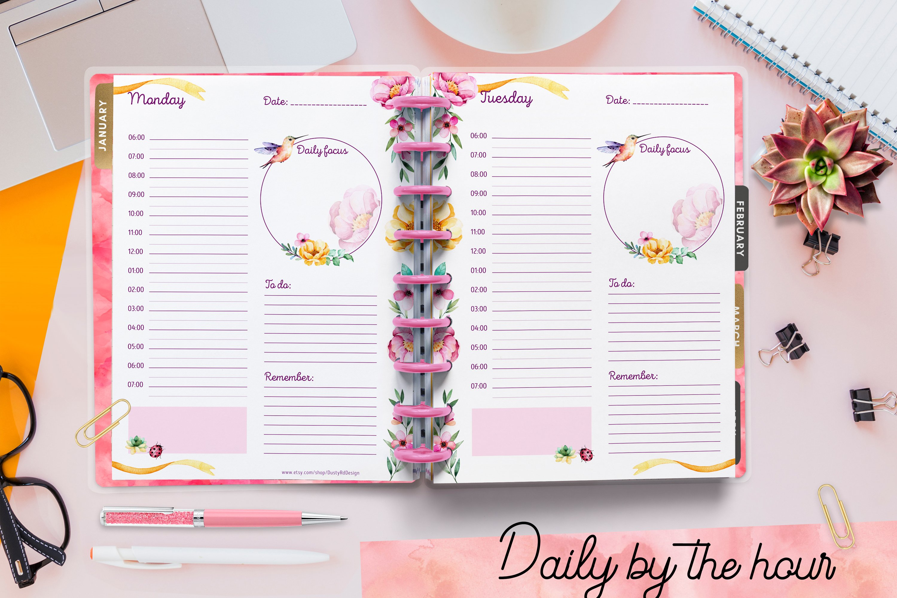 PLANNER printables- hummingbird collection - 17 pdf example image 6