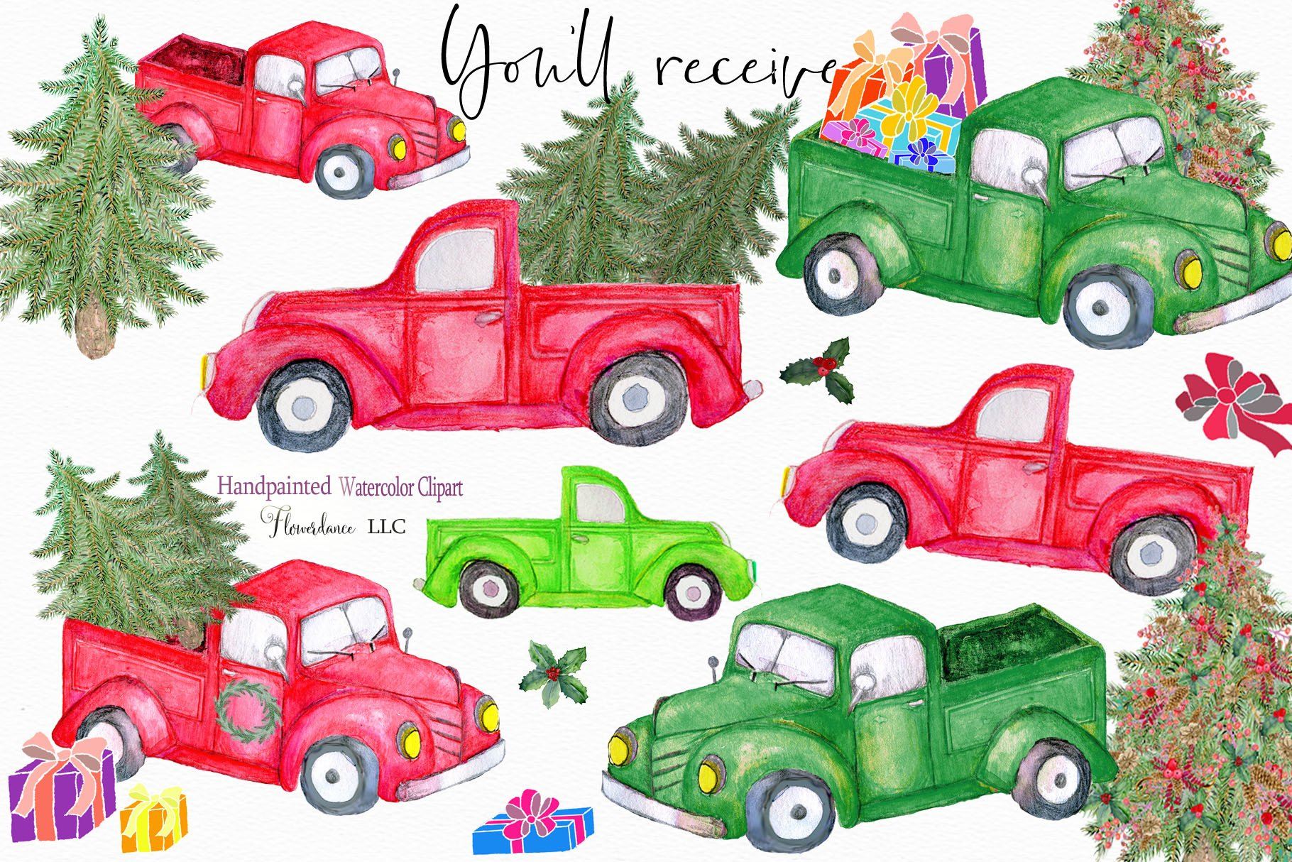 Watercolor Red Truck Clipart Christmas Farm Trucks 176641 Illustrations Design Bundles