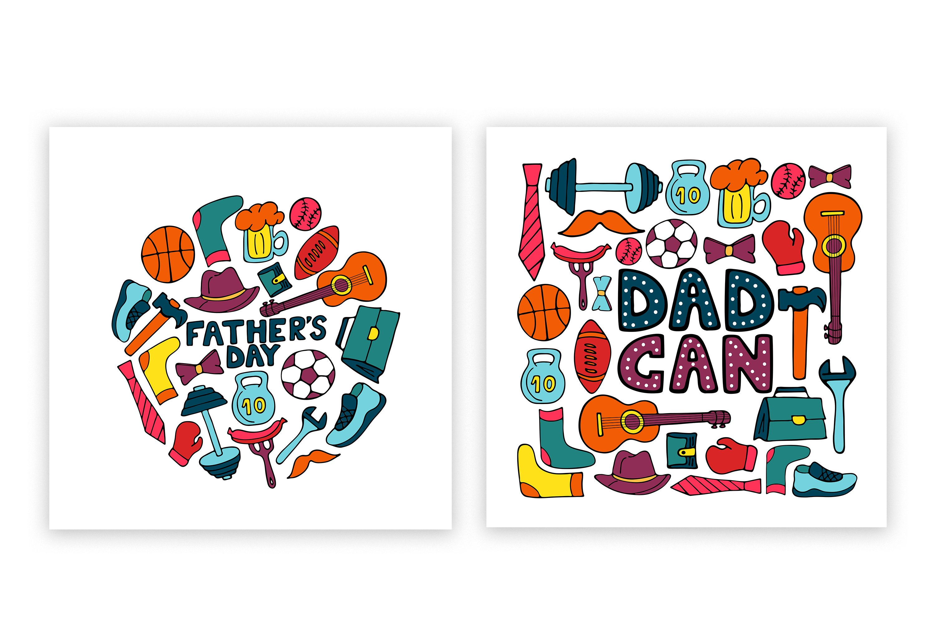 Happy Father's Day. Greeting cards and seamless pattern example image 2