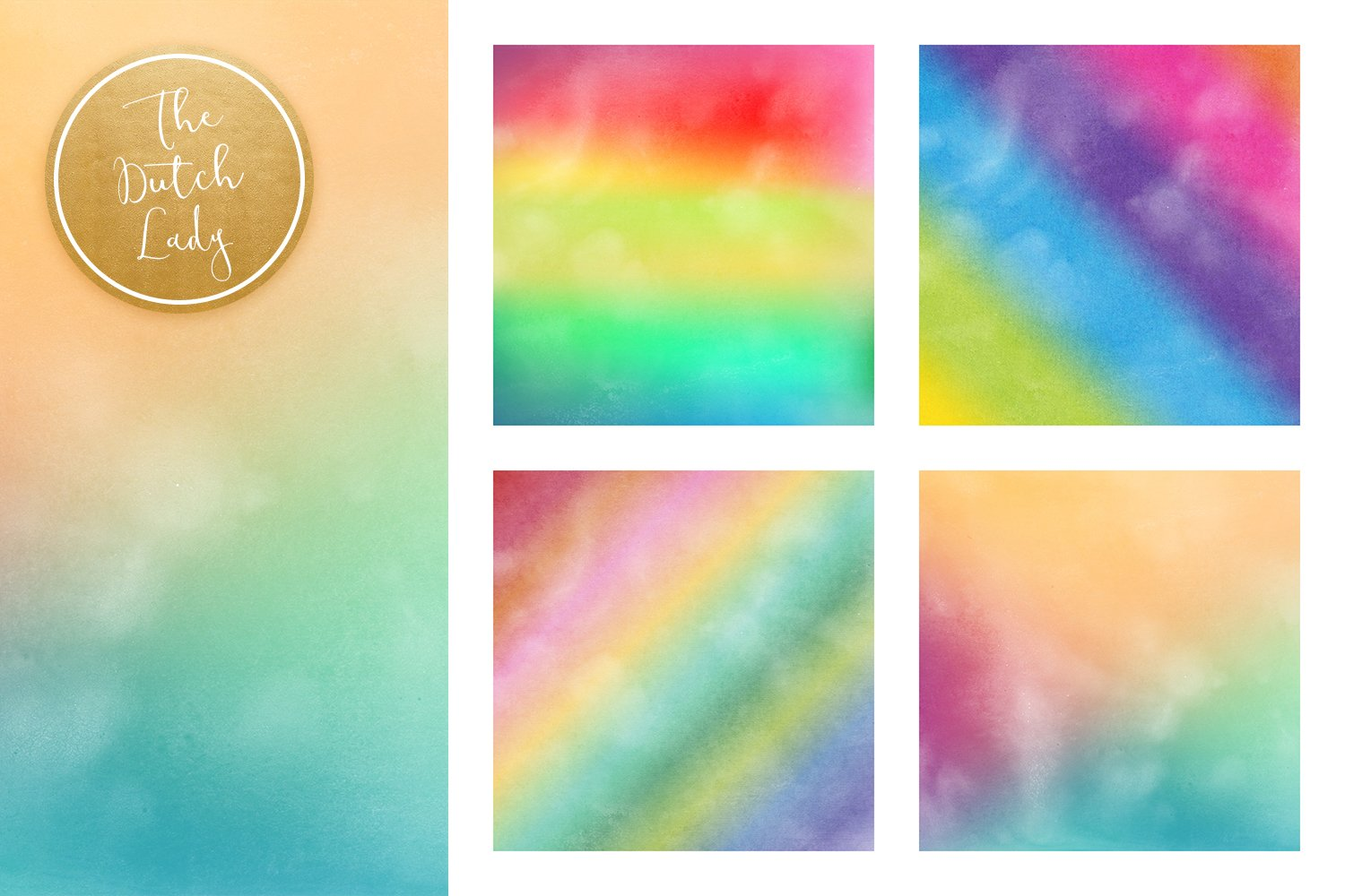 Digital Backgrounds & Papers - Distressed Rainbow Gradients example image 4