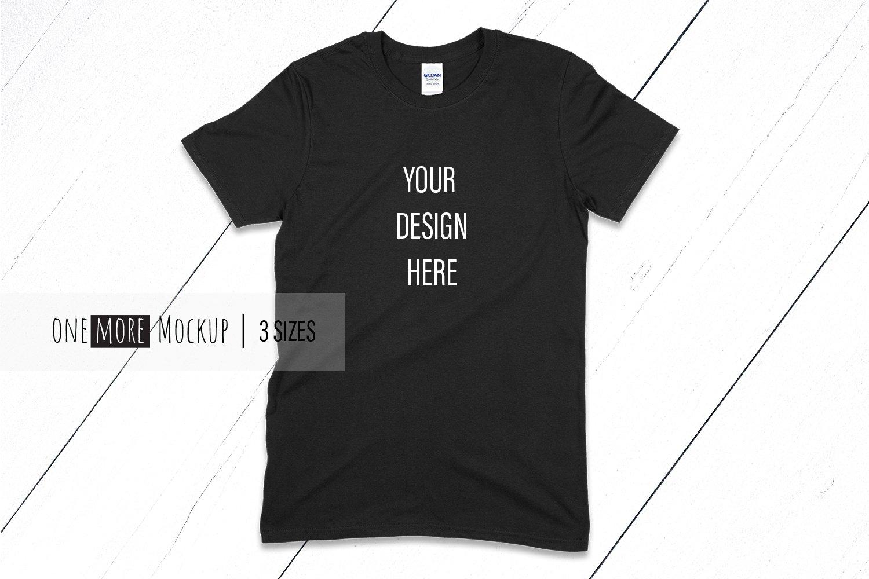 Black Tshirt Mockup | Gildan 6400 Black | Black Mockup example image 1