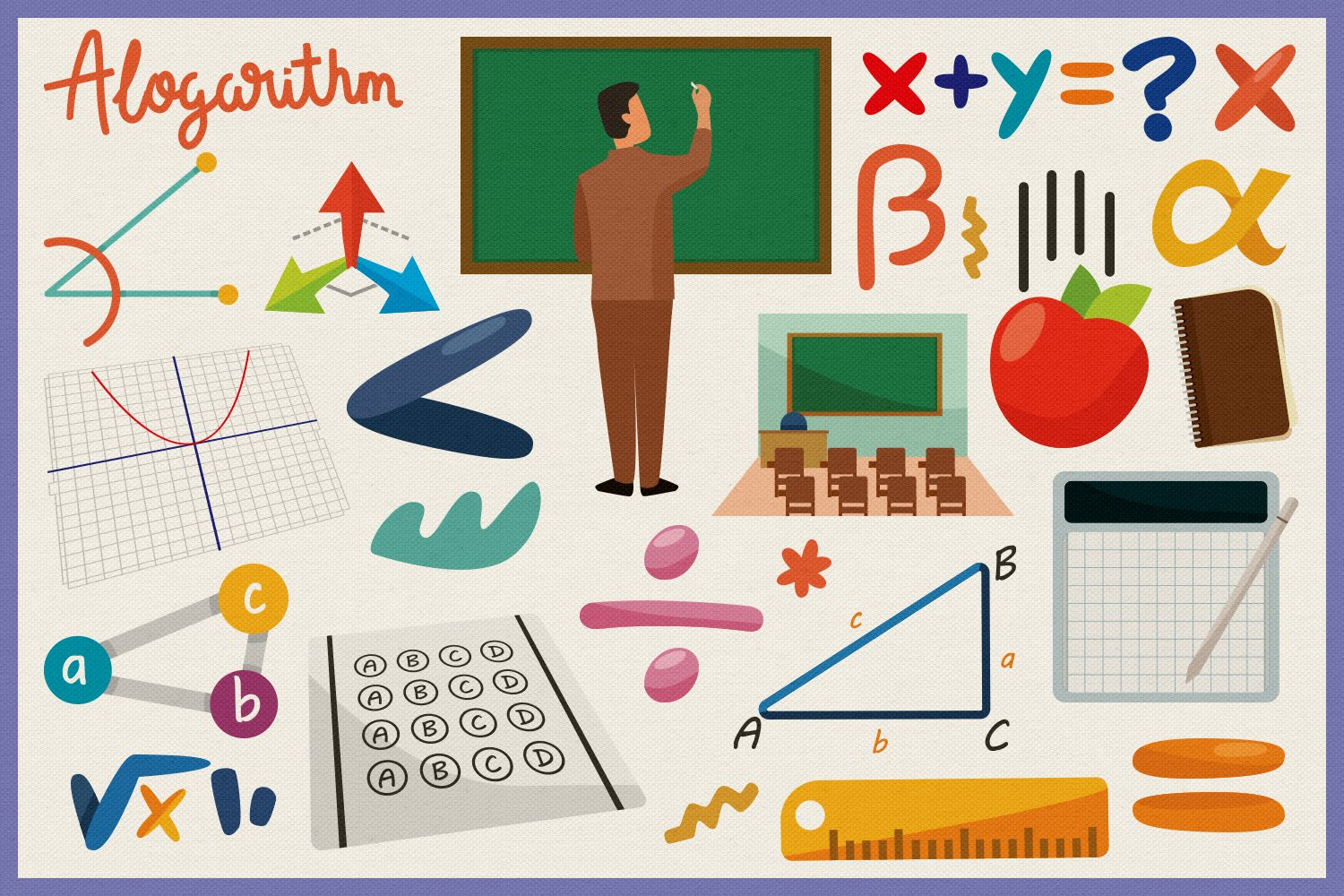 Learn Mathematics Vector Clipart and Seamless Pattern example image 5