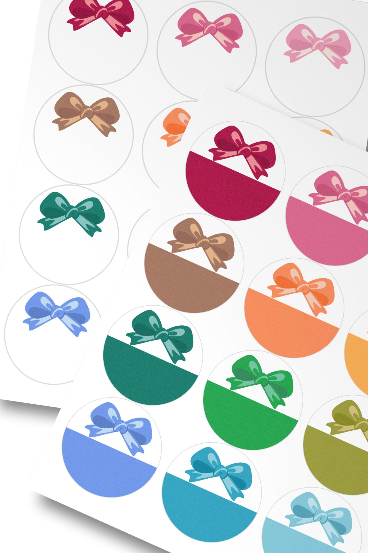 Assorted Colors Bow Round Labels 2.5 in A4 US Editable Text example image 3