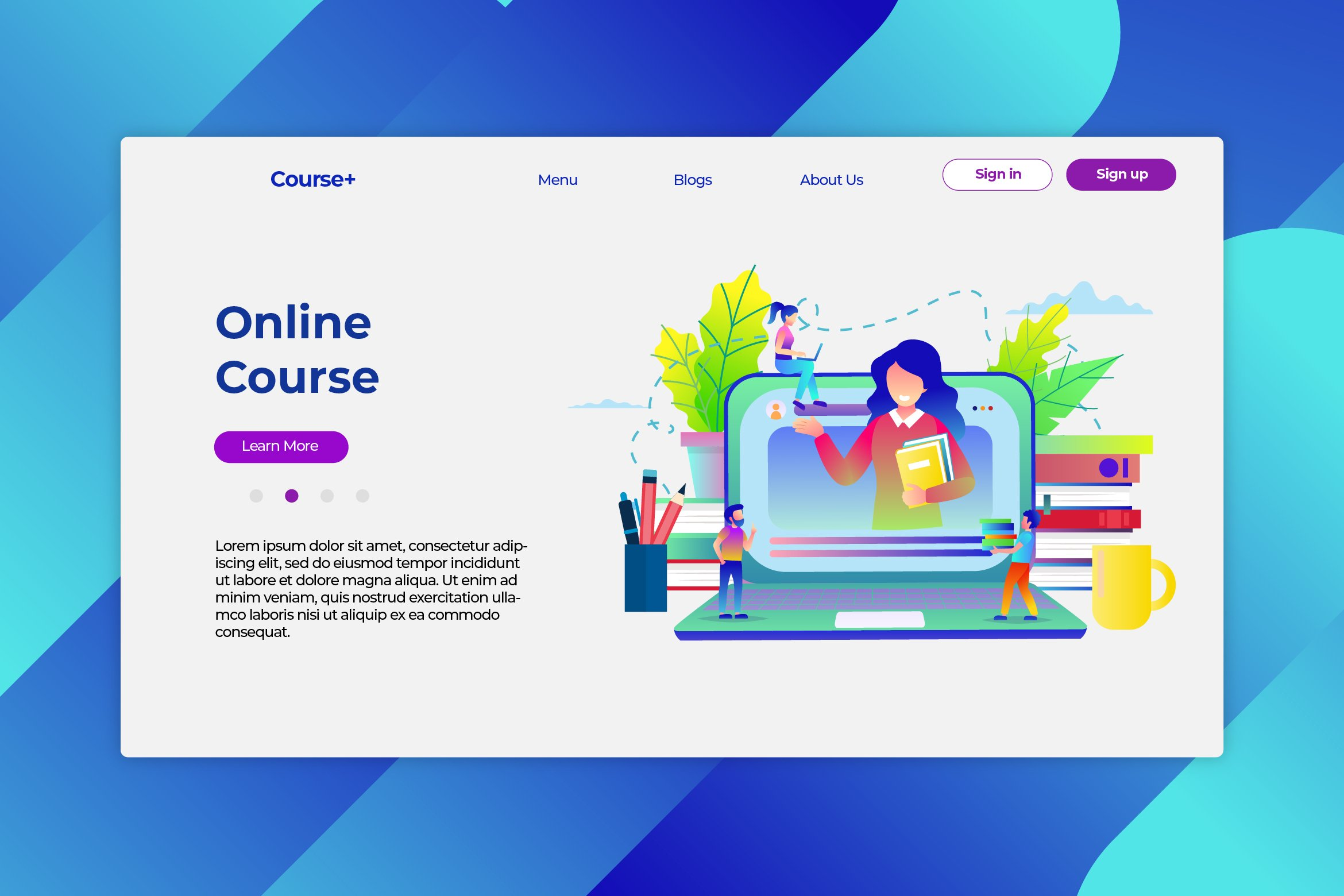 Online Course - Hero Header & Landing Page example image 1
