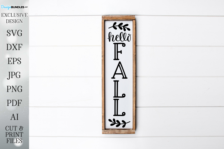 Hello Fall - Vertical Porch Sign - Autumn / Fall Design example image 1