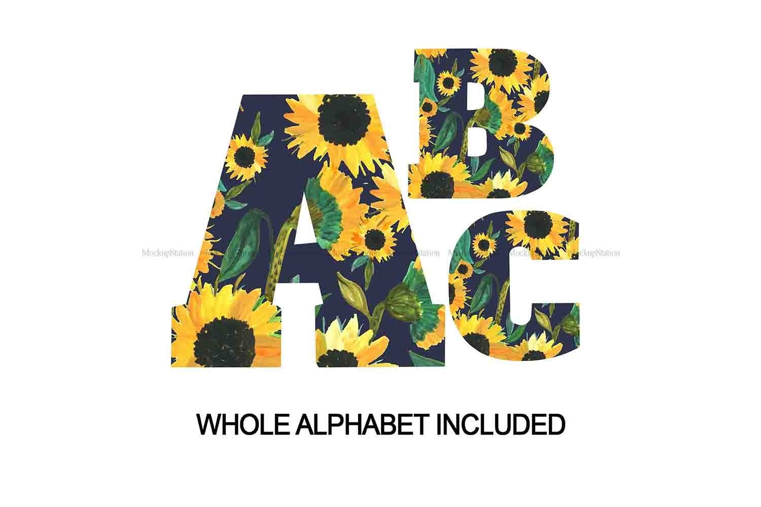 Sunflower Alphabet PNG   Letters Numbers Sublimation ...