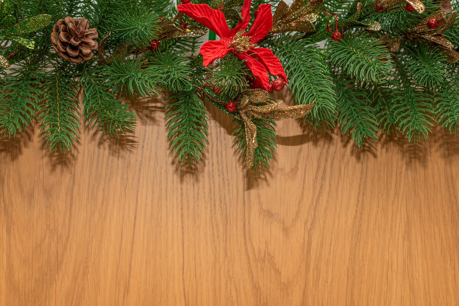 Christmas background with fir branches and Xmas decorations example image 1