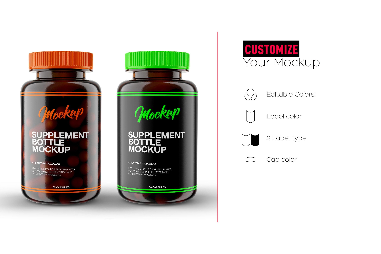Download Supplement Bottle Mockup, Glossy Amber Color Plastic ... Free Mockups