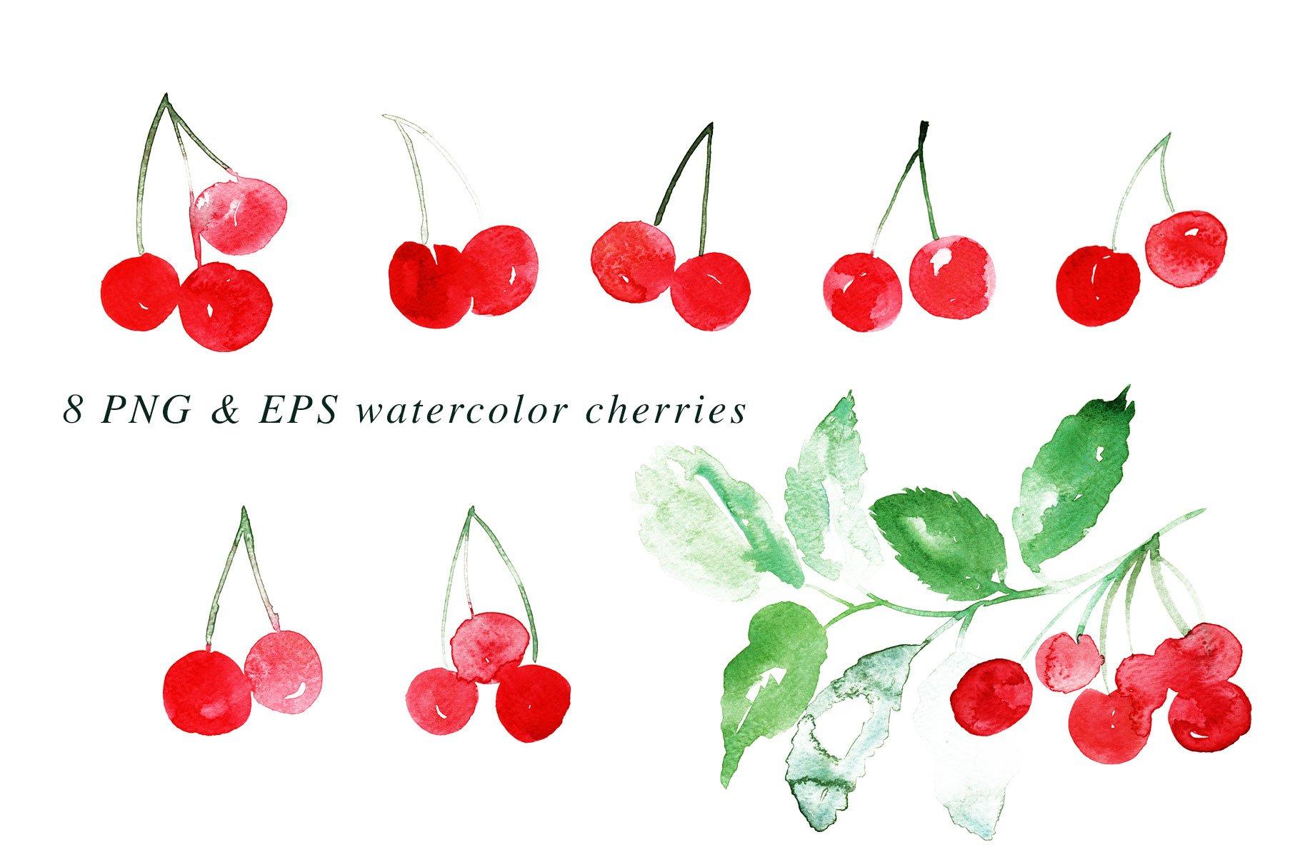 Watercolor Cherries Vector & PNG example image 2