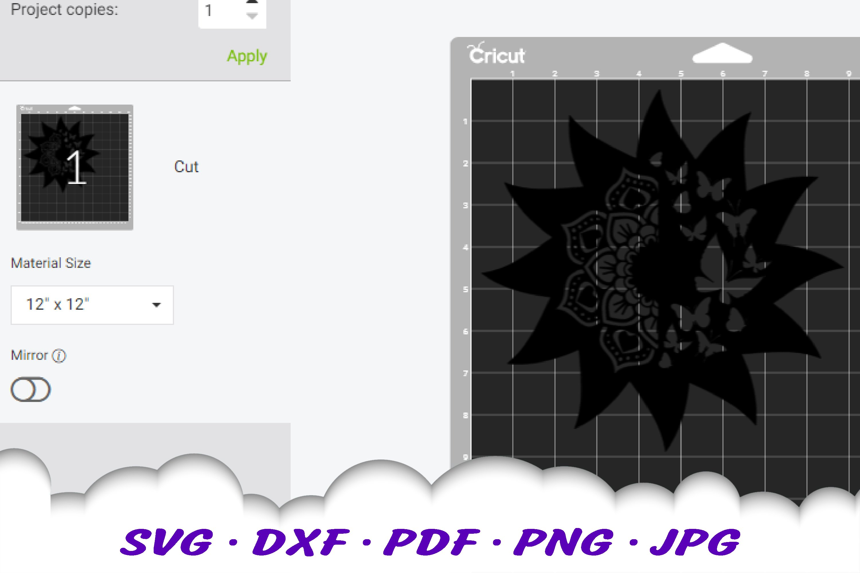 Mandala Butterfly Sun Celestial SVG DXF Cut Files example image 2