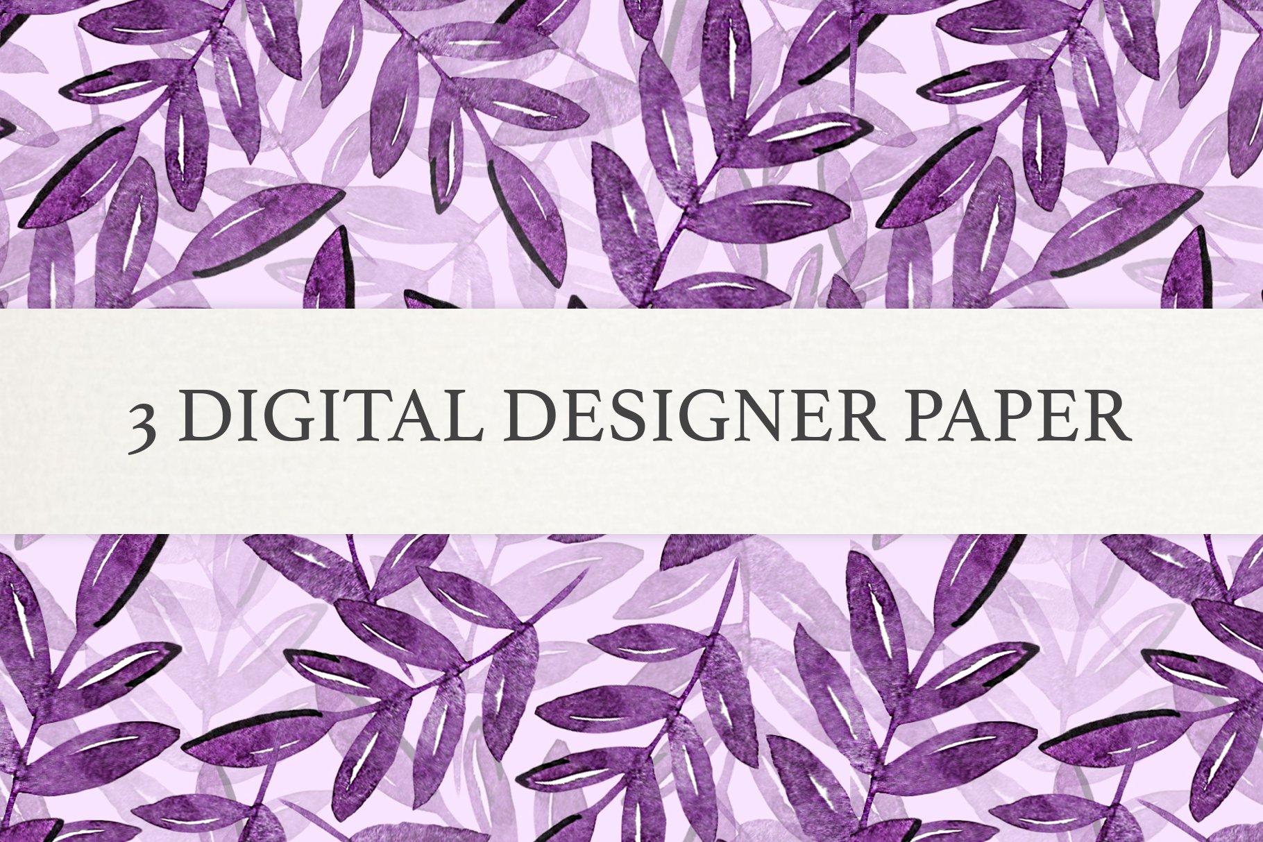 Watercolor Leaf Digital Scrapbook Paper, Seamless Patterns example image 4