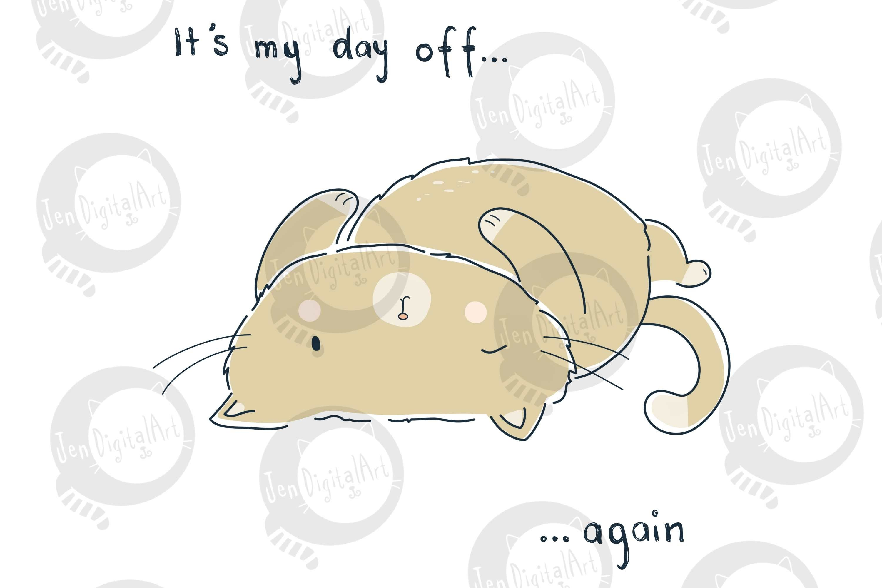 Day Off Cat | Clip Art Illustration | PNG/JPEG example image 3