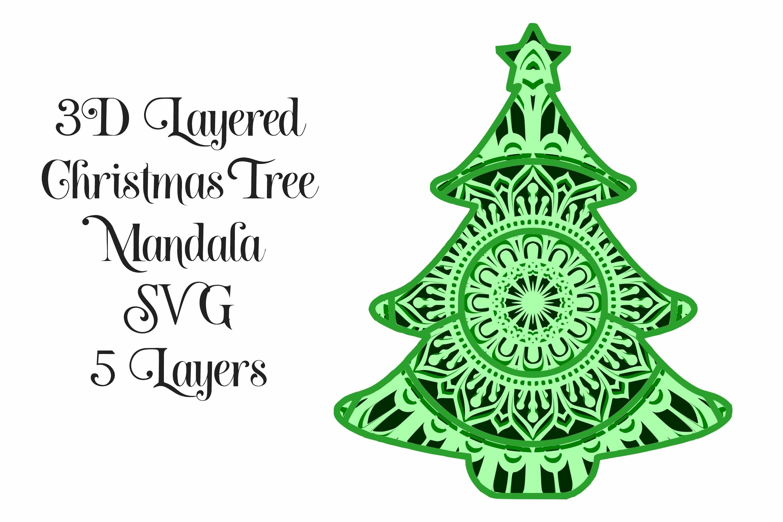 Download SVG Christmas Tree Mandala 3D Layered SVG - 5 Layers ...