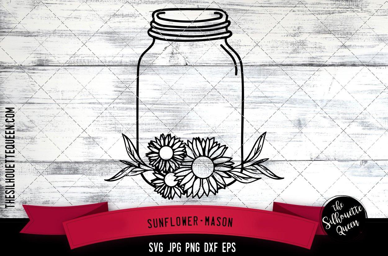 Sunflower Mason Jar Cut File Svg 746781 Cut Files Design Bundles