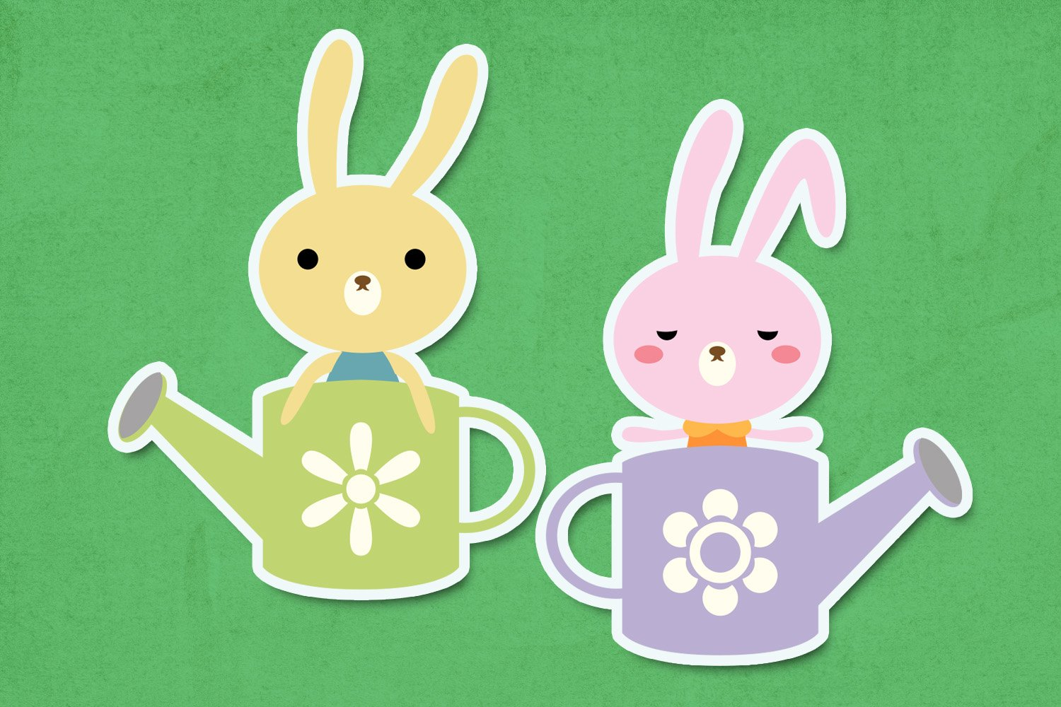 Spring bunny garden illustrations clip art example image 2