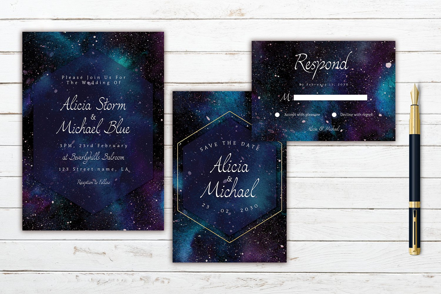 Colorful Cosmic In Space Watercolor Wedding Invitation Set example image 3