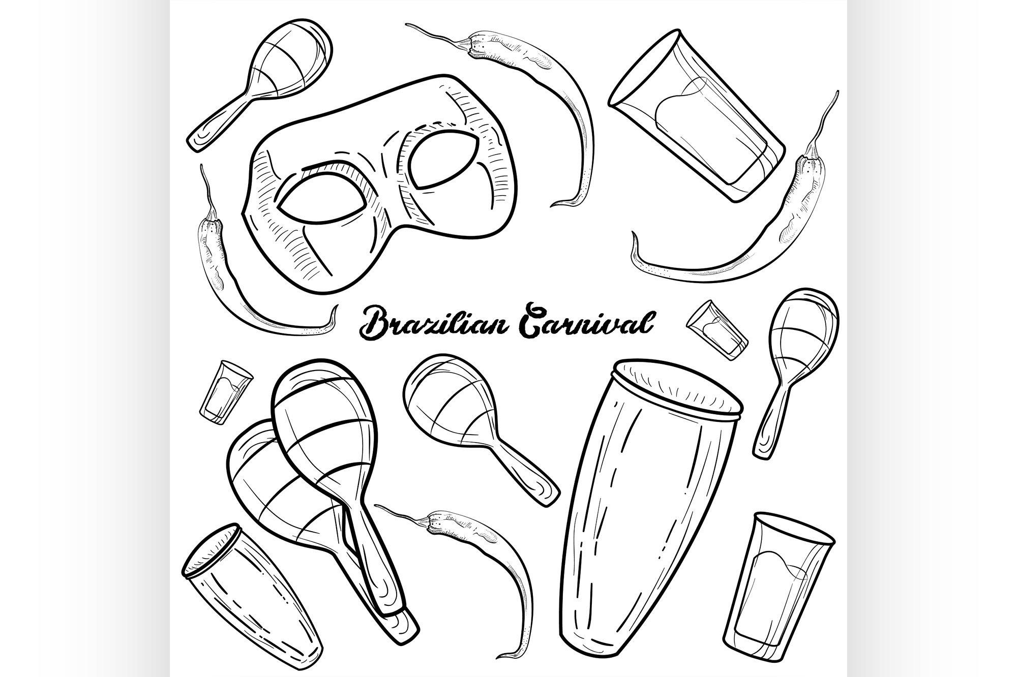 Hand drawn Brazilian Carnival element example image 1